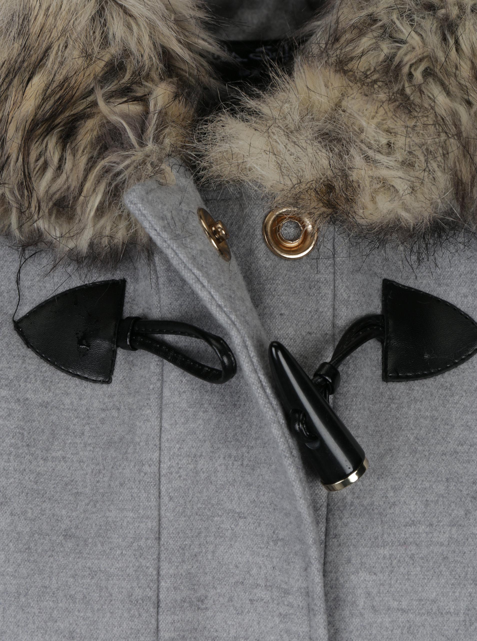 1f0adb447d Šedý kabát s kapucí a umělým kožíškem Miss Selfridge ...