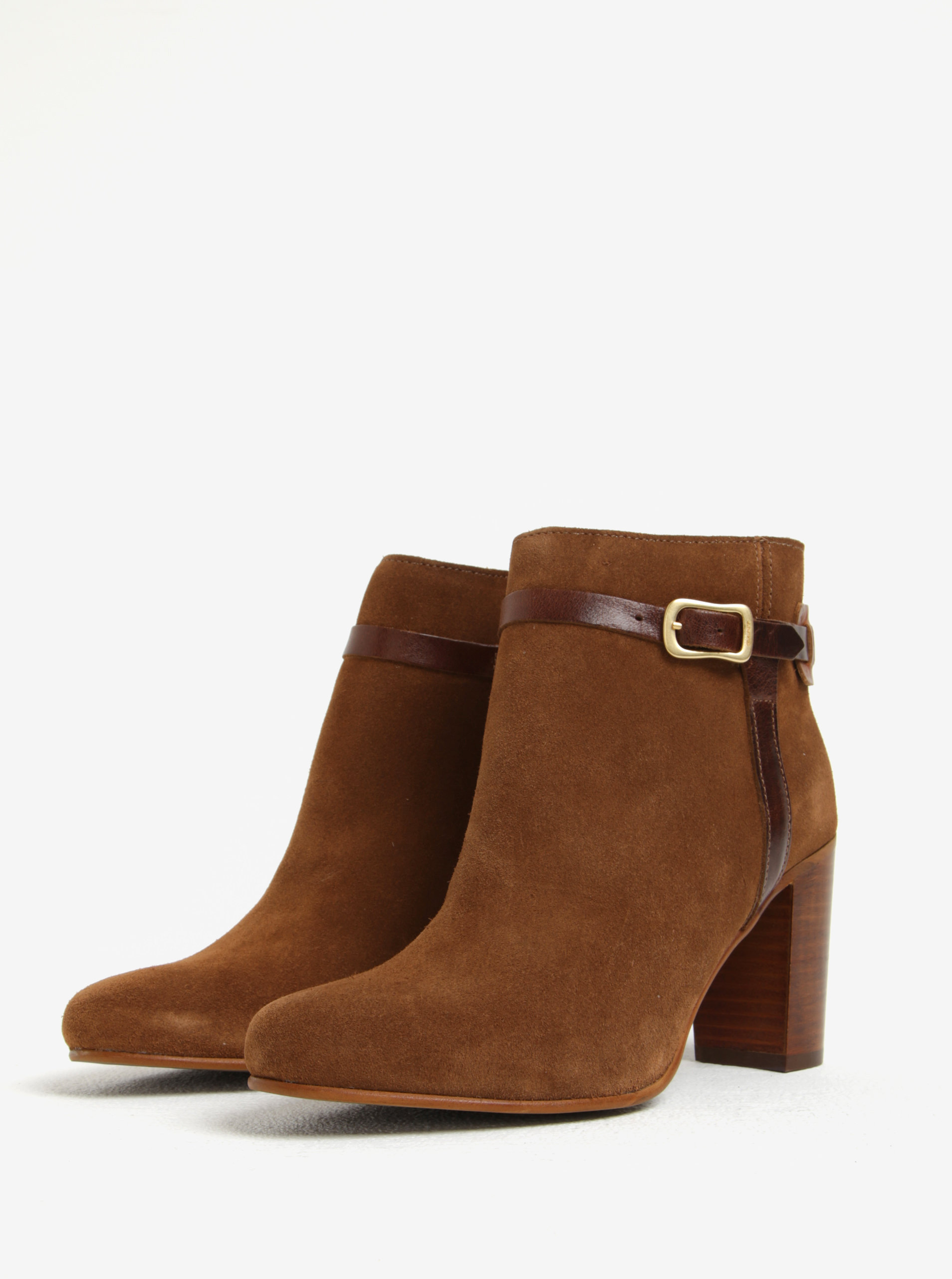 Světle hnědé dámské kožené kotníkové boty na podpatku GANT Alma ... 2c36511425