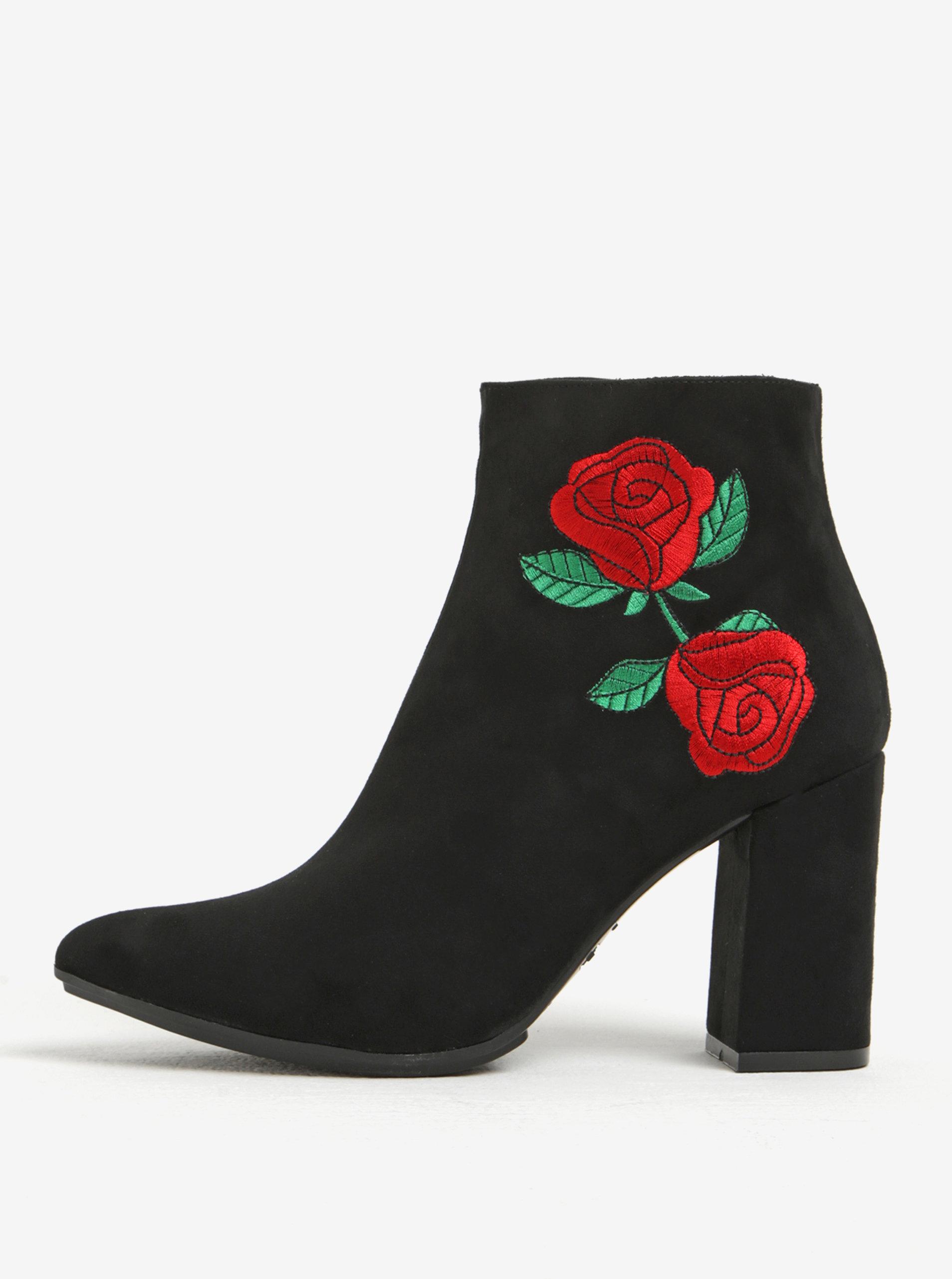 Černé kotníkové boty v semišové úpravě na podpatku s výšivkou OJJU ... 4a1b450dab