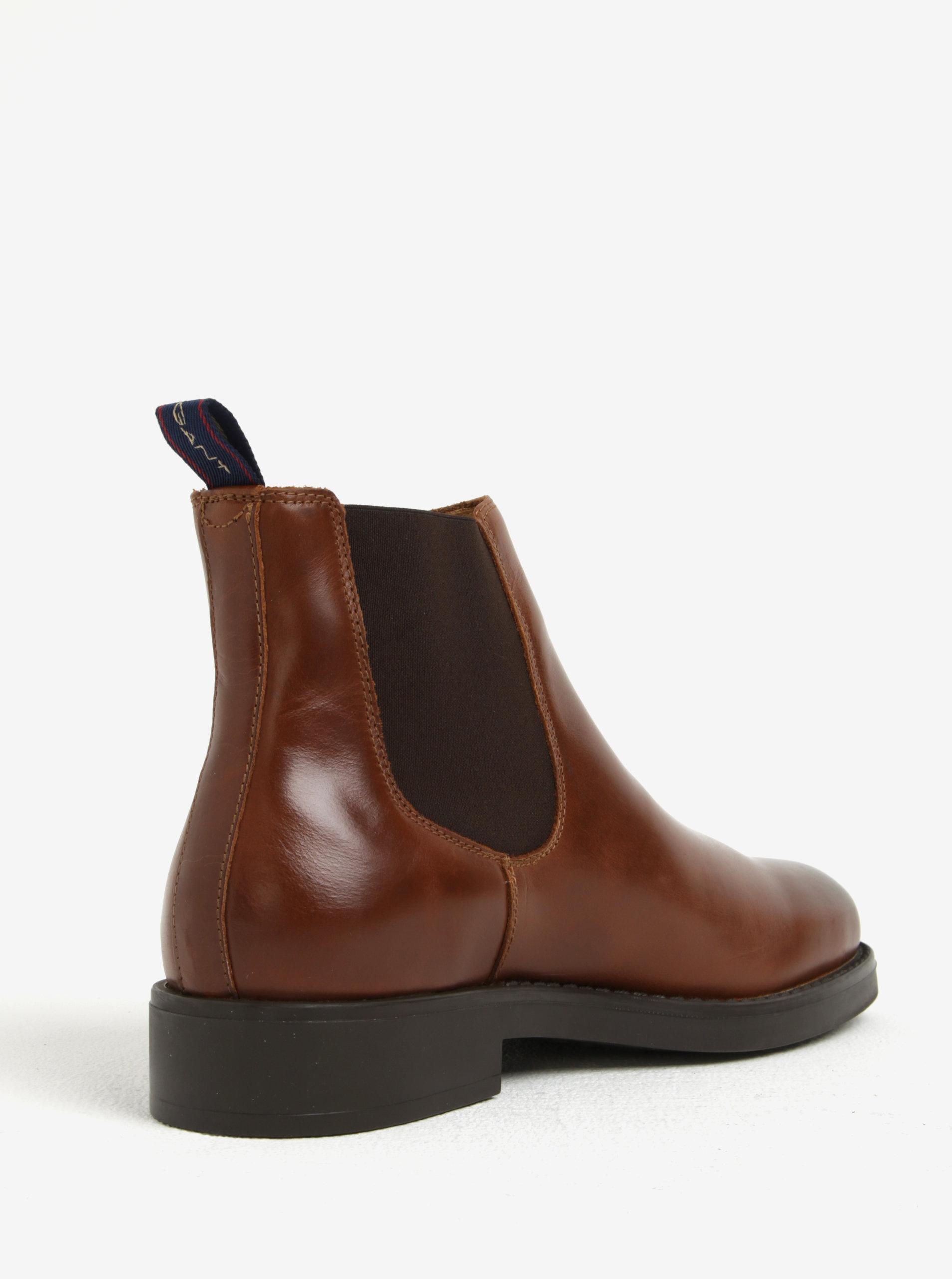 Hnědé pánské kožené chelsea boty GANT Oscar ... cc44c686e2