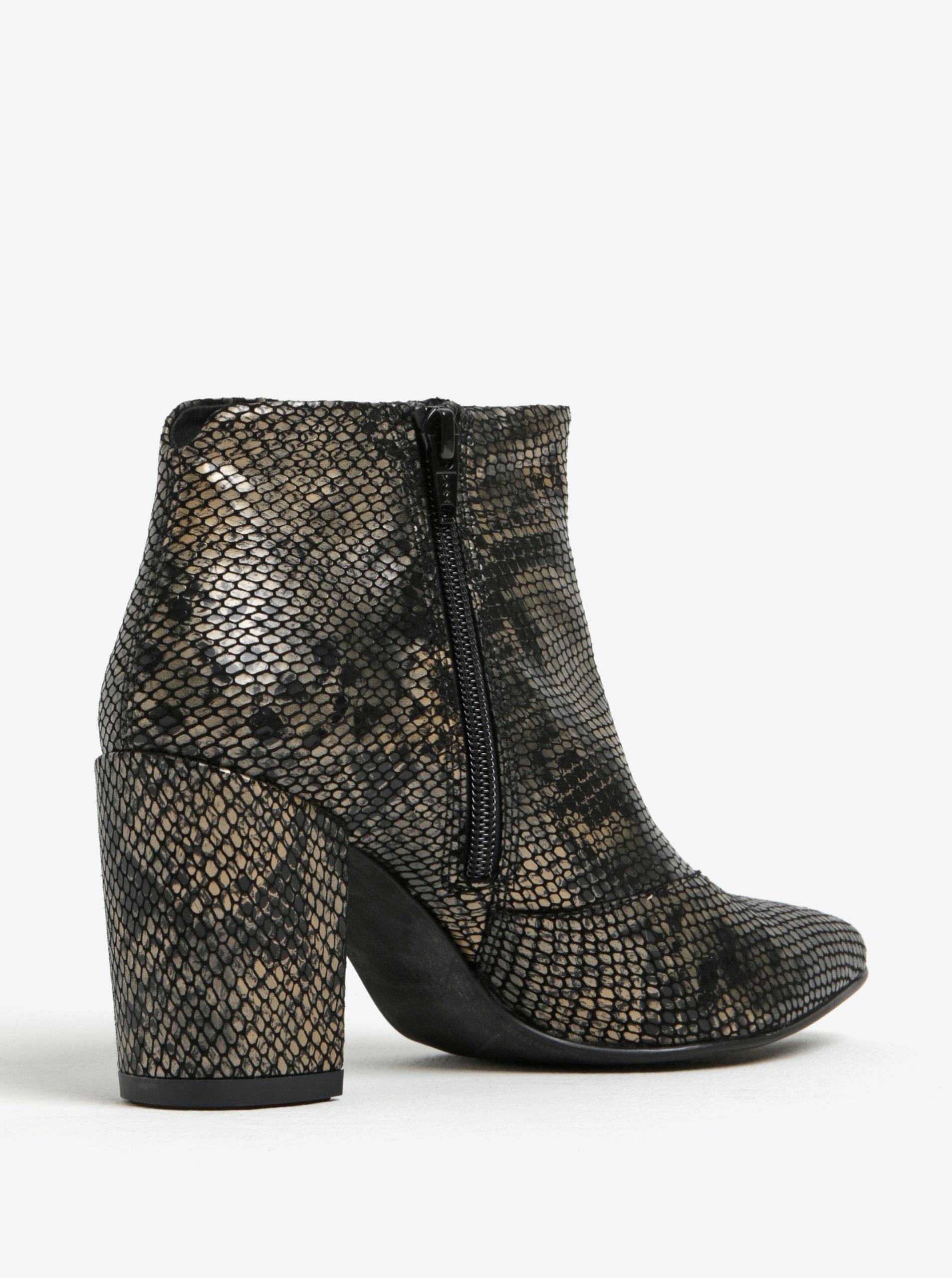 Černé dámské kožené kotníkové vzorované boty Vagabond Saida ... e9080ddb4a