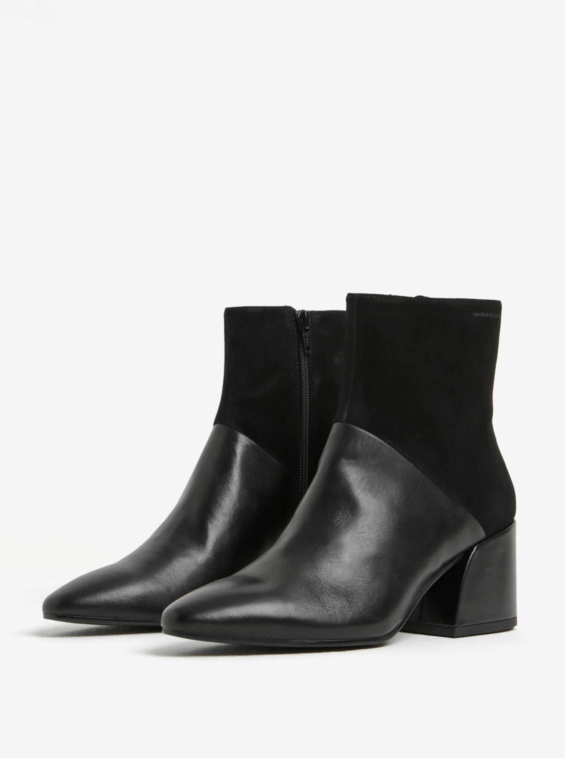 d38a031fea6 Černé dámské kožené kotníkové boty Vagabond Olivia ...