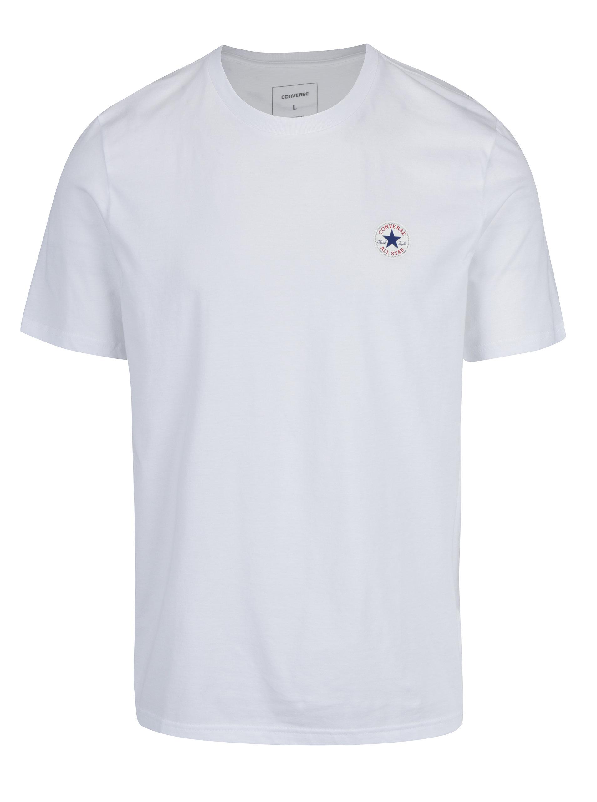Bílé pánské tričko Converse Core Left Chest ... 7067a6ecec