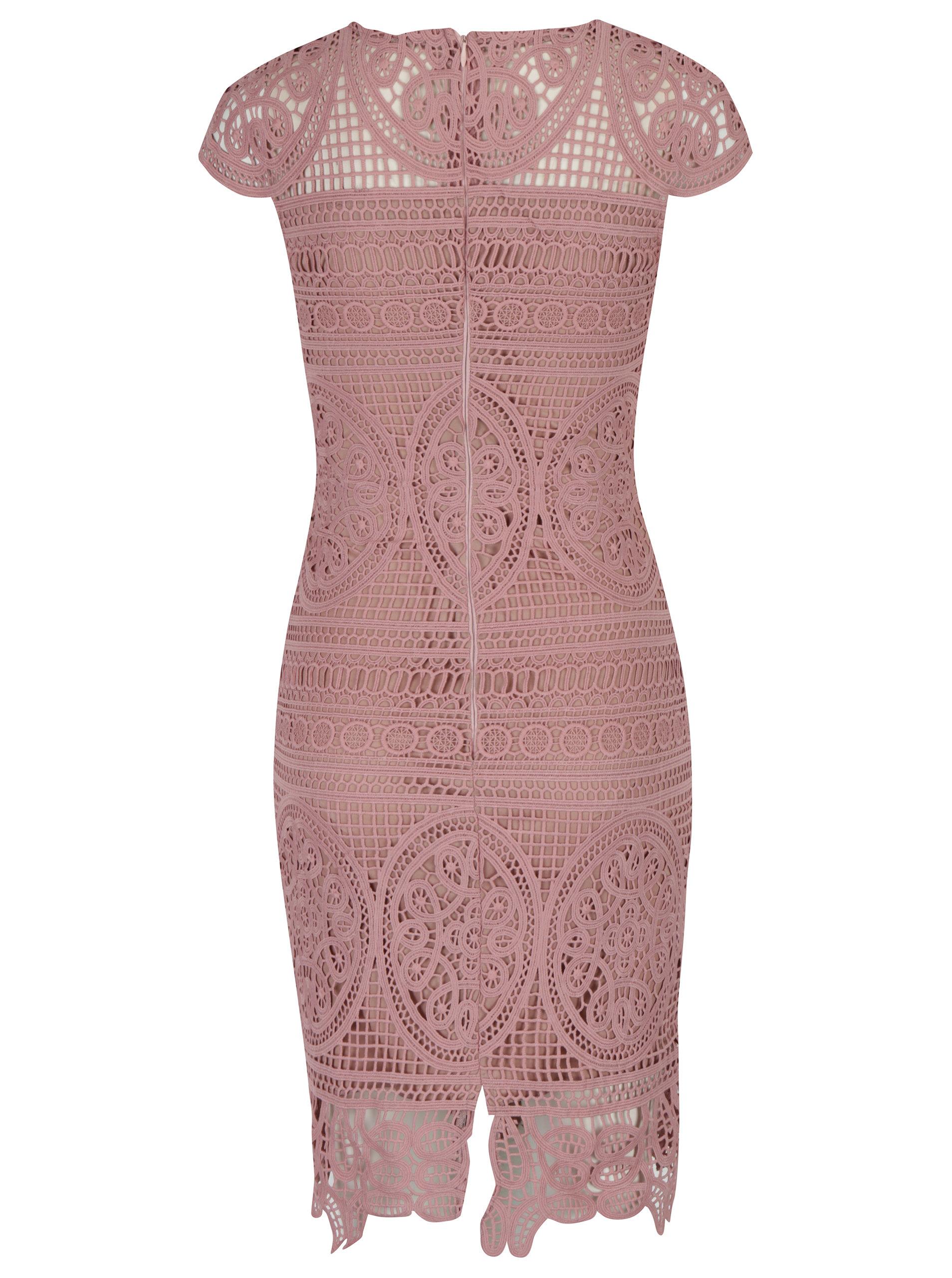 2faf23a768f3 Staroružové čipkované puzdrové šaty Miss Grey Nadia ...