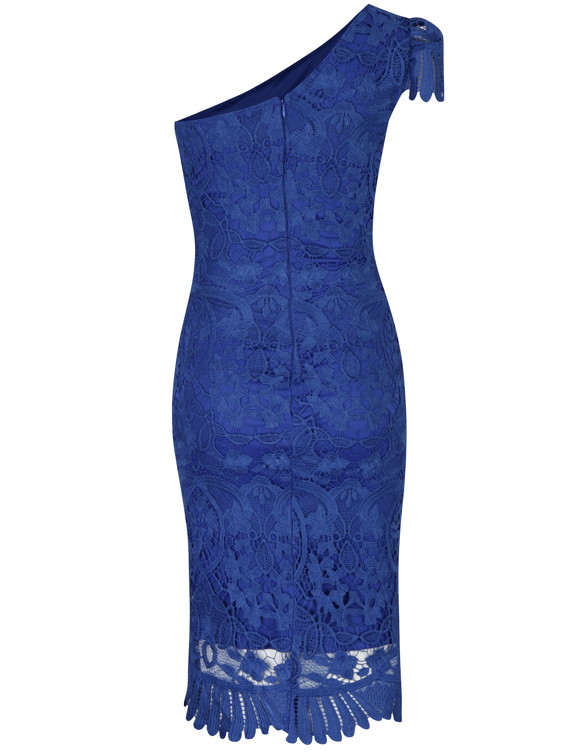 395f15f7cef9 Modré čipkované šaty cez jedno rameno Miss Grey Sofa ...