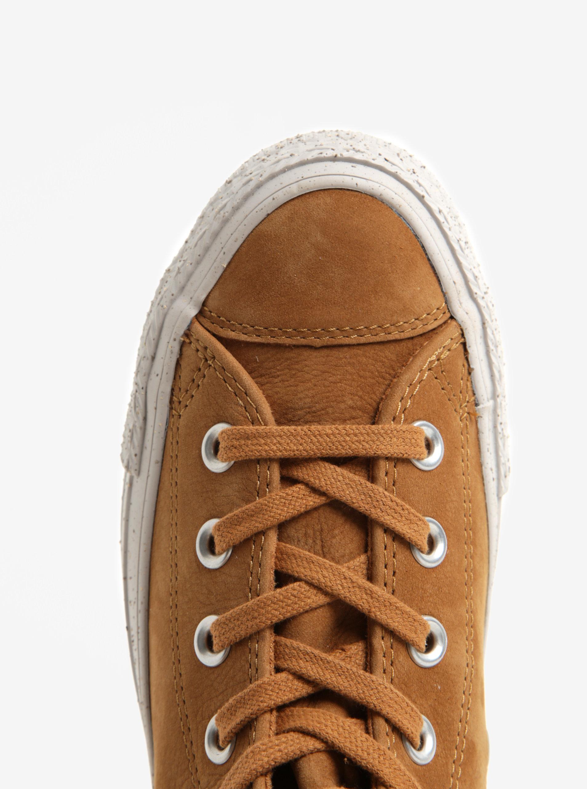 Hnědé dámské kožené kotníkové tenisky Converse Chuck Taylor All Star ... 0c8056b32a