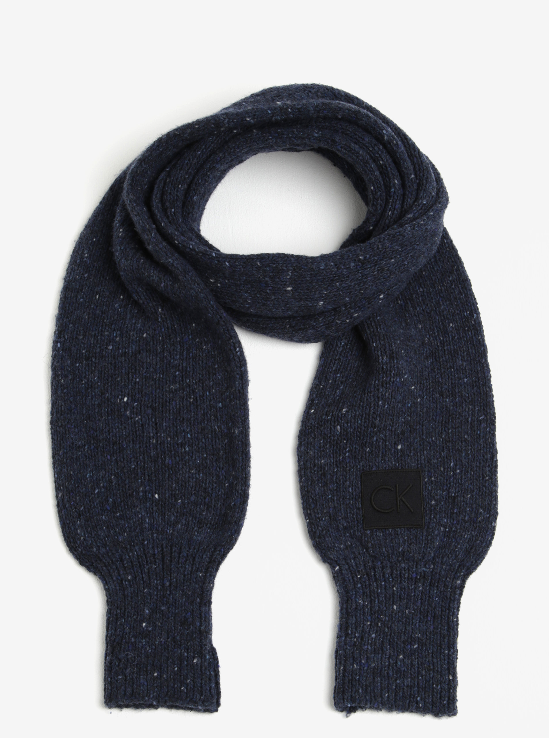 abe7c599448 Tmavě modrá dámská žíhaná vlněná šála Calvin Klein Jeans Eline ...