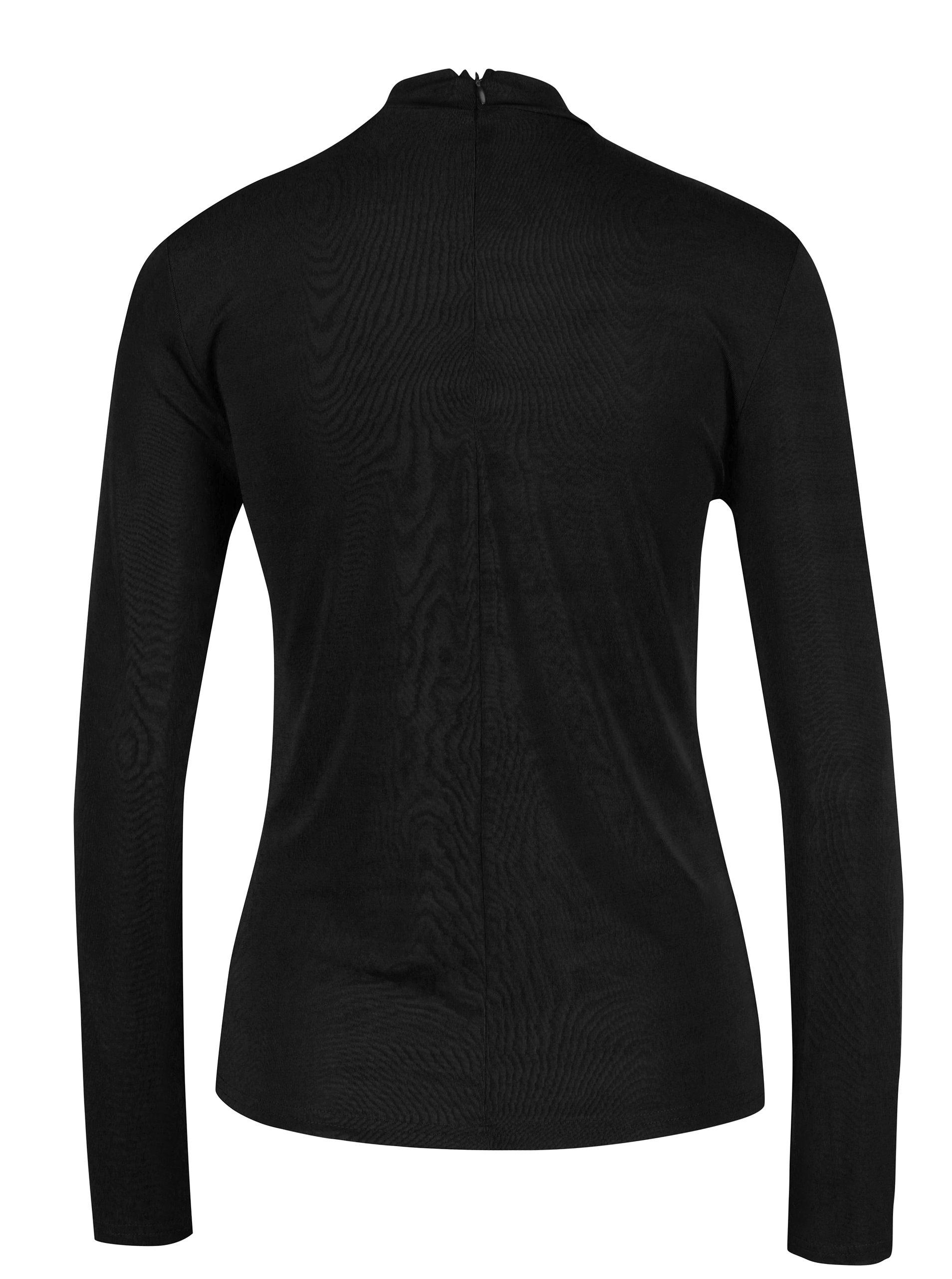Černé tričko s průstřihem v dekoltu VERO MODA Jennie ... 9ce6110a24