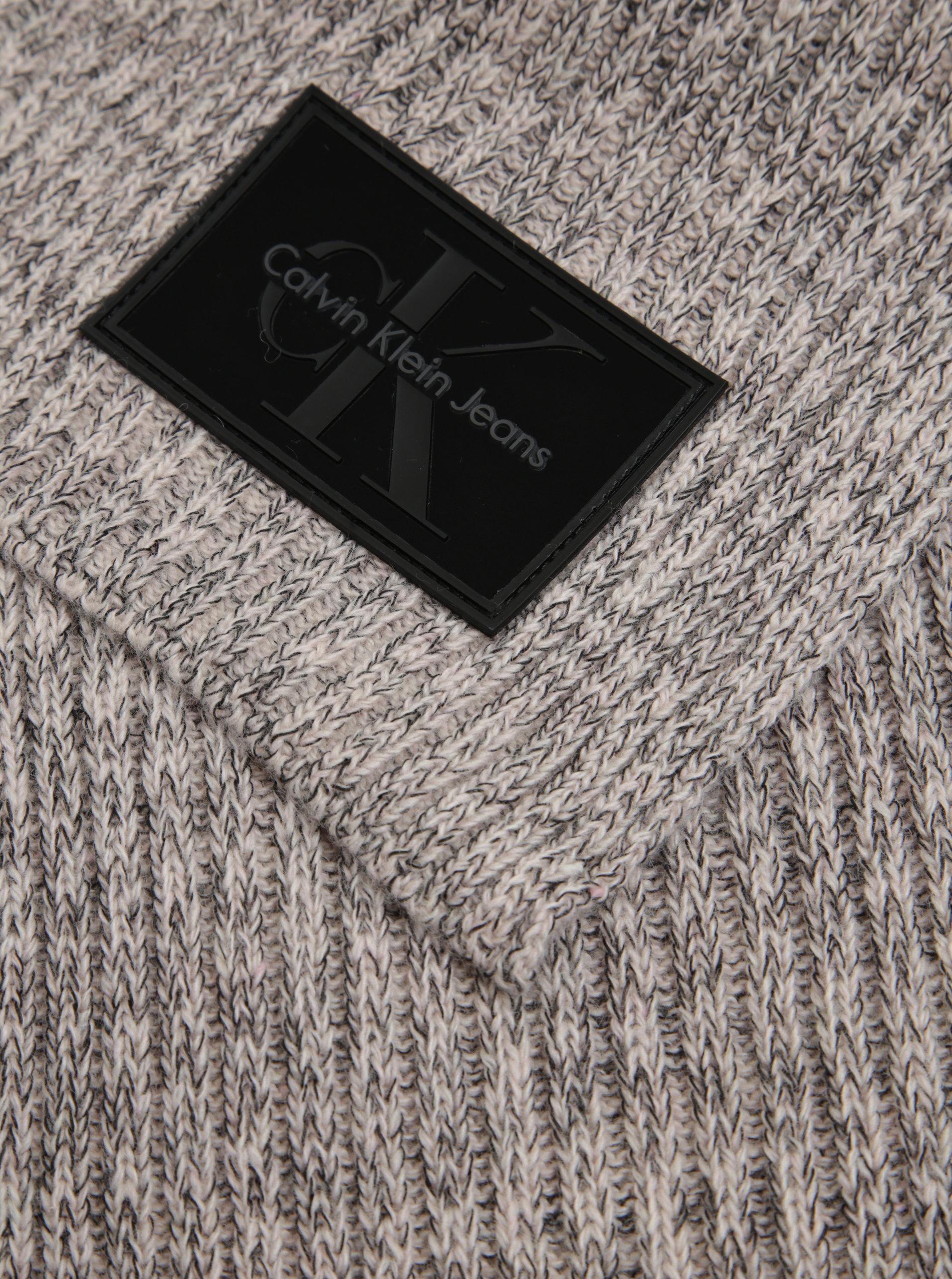 64ca32a6745 Světle růžová dámská žíhaná vlněná šála Calvin Klein Jeans Basic ...