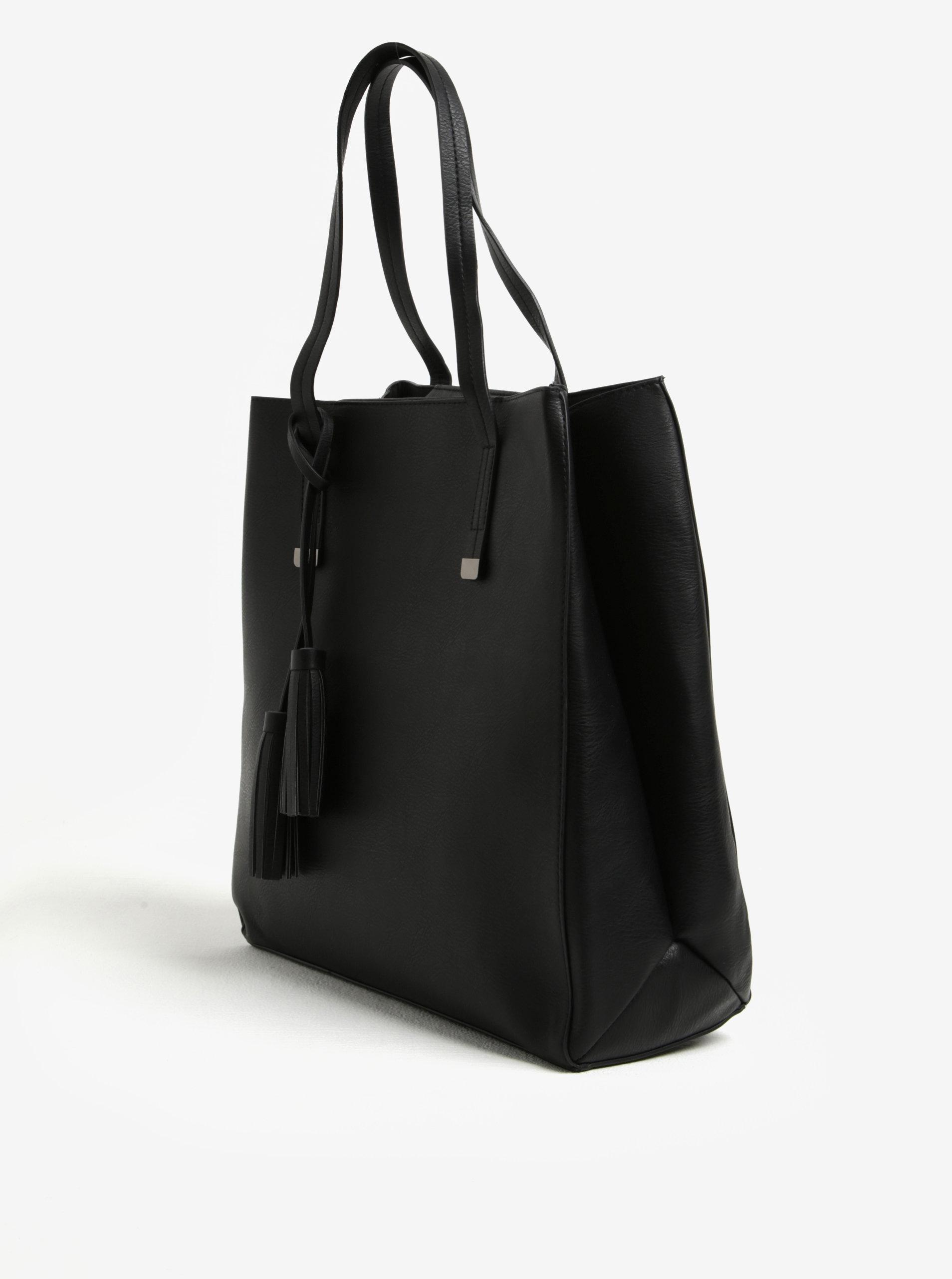 Čierna kabelka so strapcami Pieces Reagan ... 77c781b1e65
