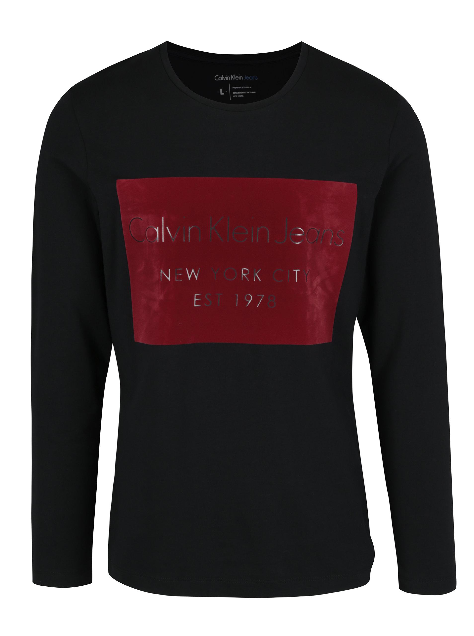 Černé pánské tričko s dlouhým rukávem a potiskem v sametové úpravě Calvin  Klein Jeans Tavid ... 1df9ed8195