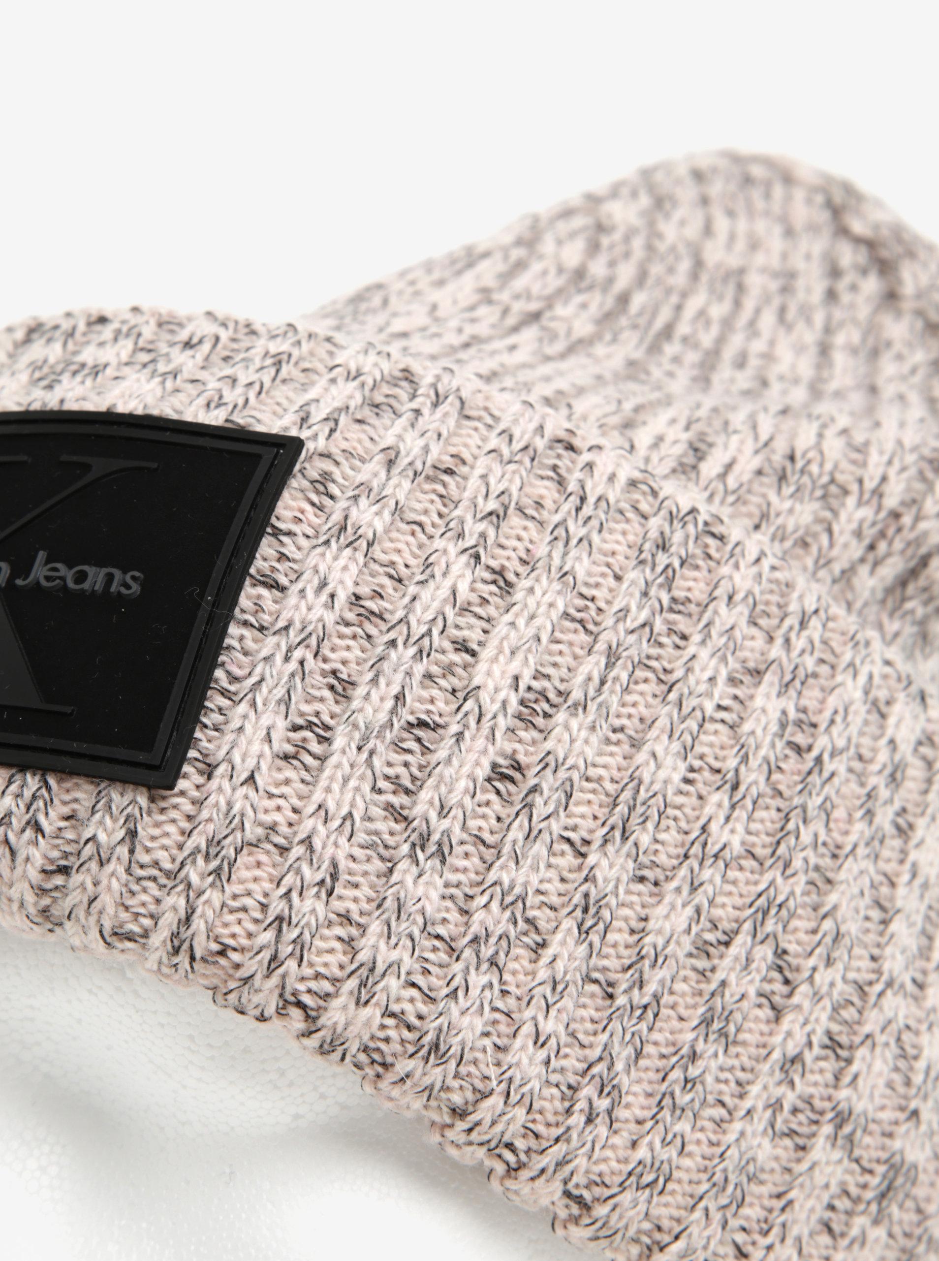 5d915a56b54 Světle růžová dámská žíhaná vlněná čepice Calvin Klein ...