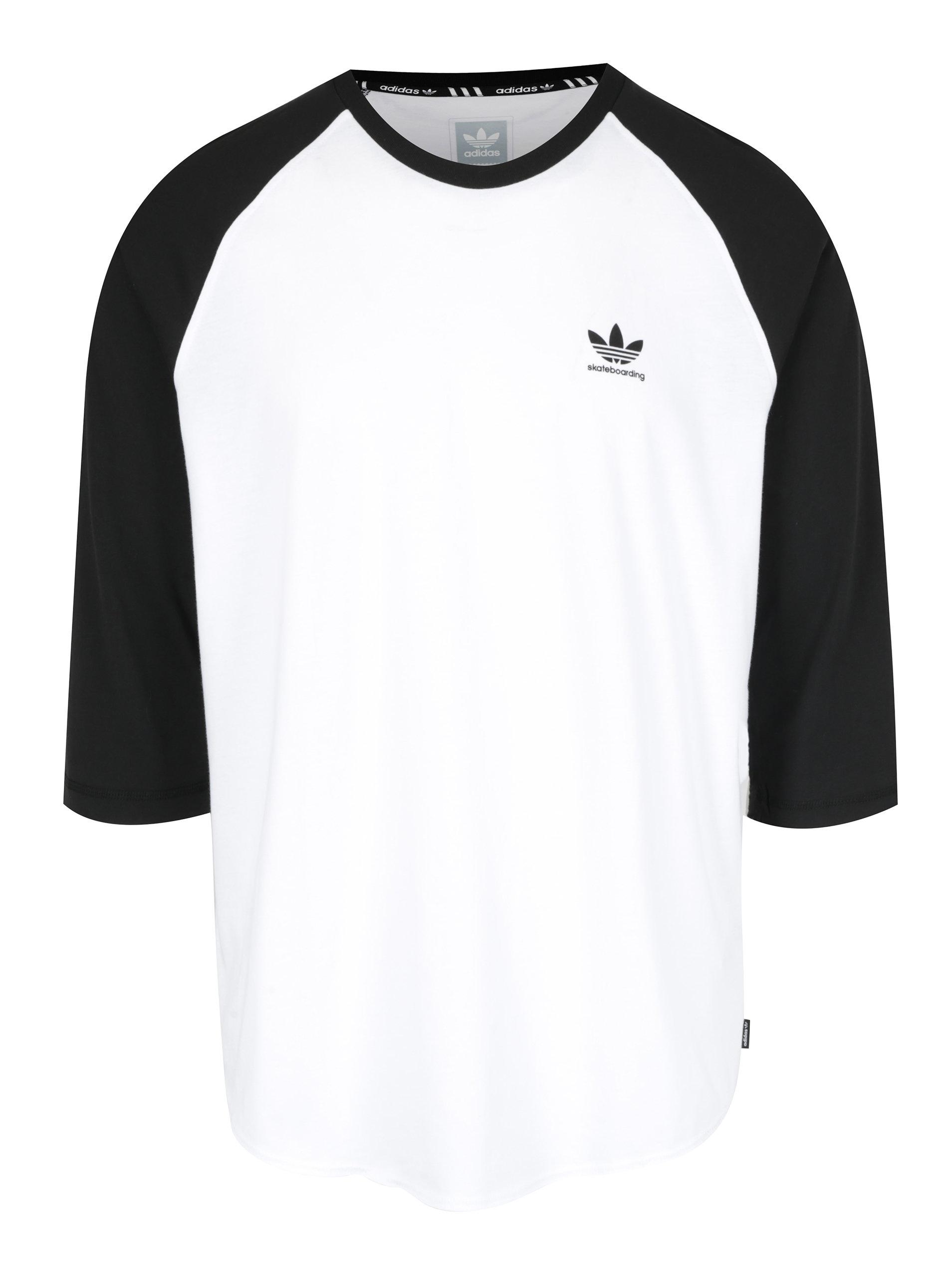Černo-bílé pánské tričko s 3 4 rukávem adidas Originals ... a5756a50187