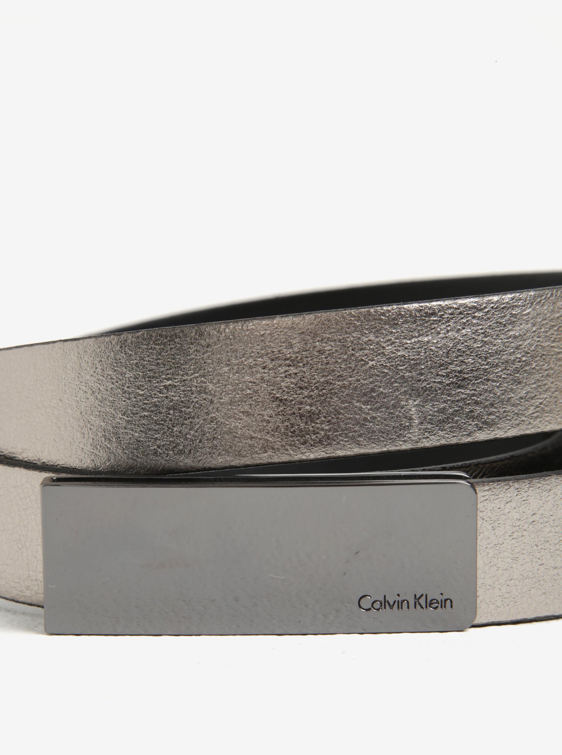 ... Metalický dámský kožený pásek ve stříbrné barvě Calvin Klein Jeans  Curved 4821a47c2d