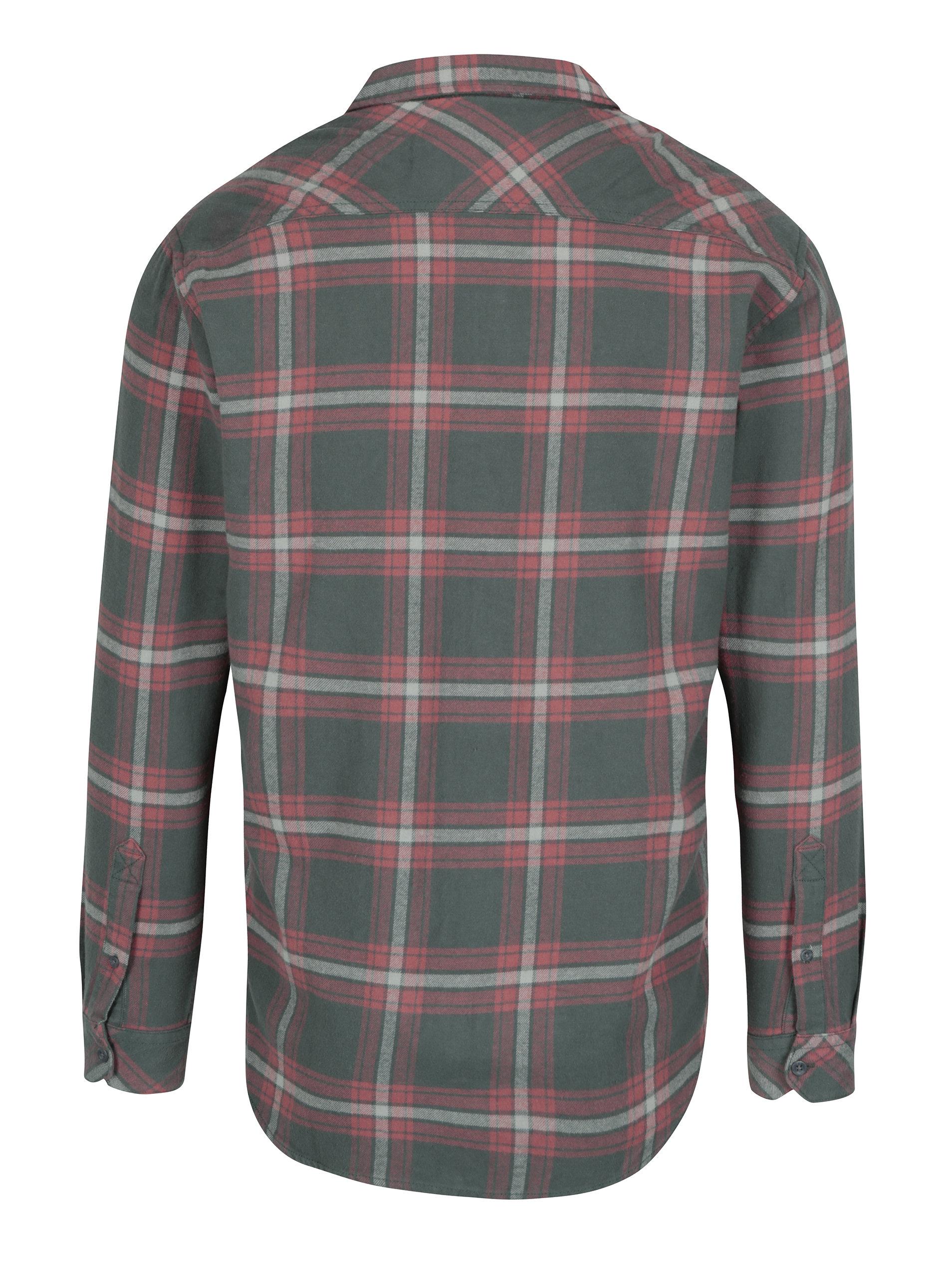 862b80124e89 Zeleno-červená pánska flanelová modern fit košeľa Quiksilver ...