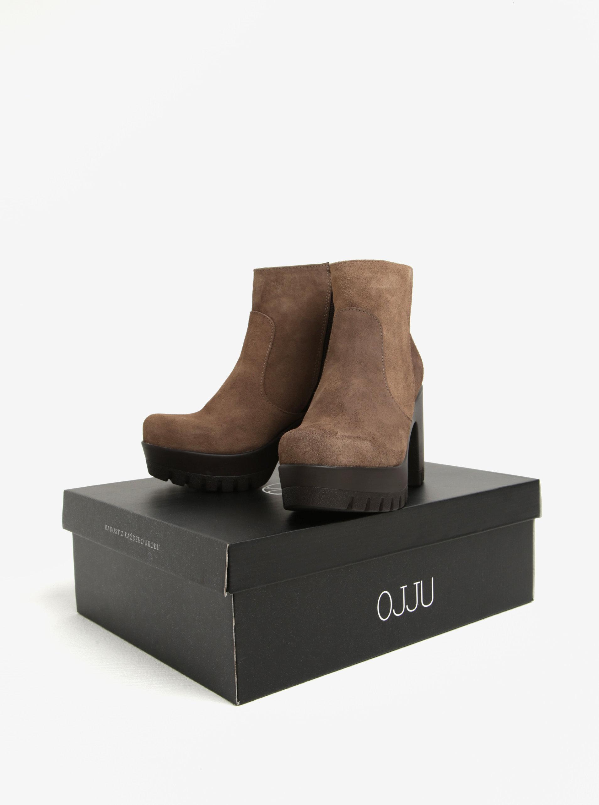 8f690e74bd Svetlohnedé melírované semišové členkové topánky na platforme OJJU ...