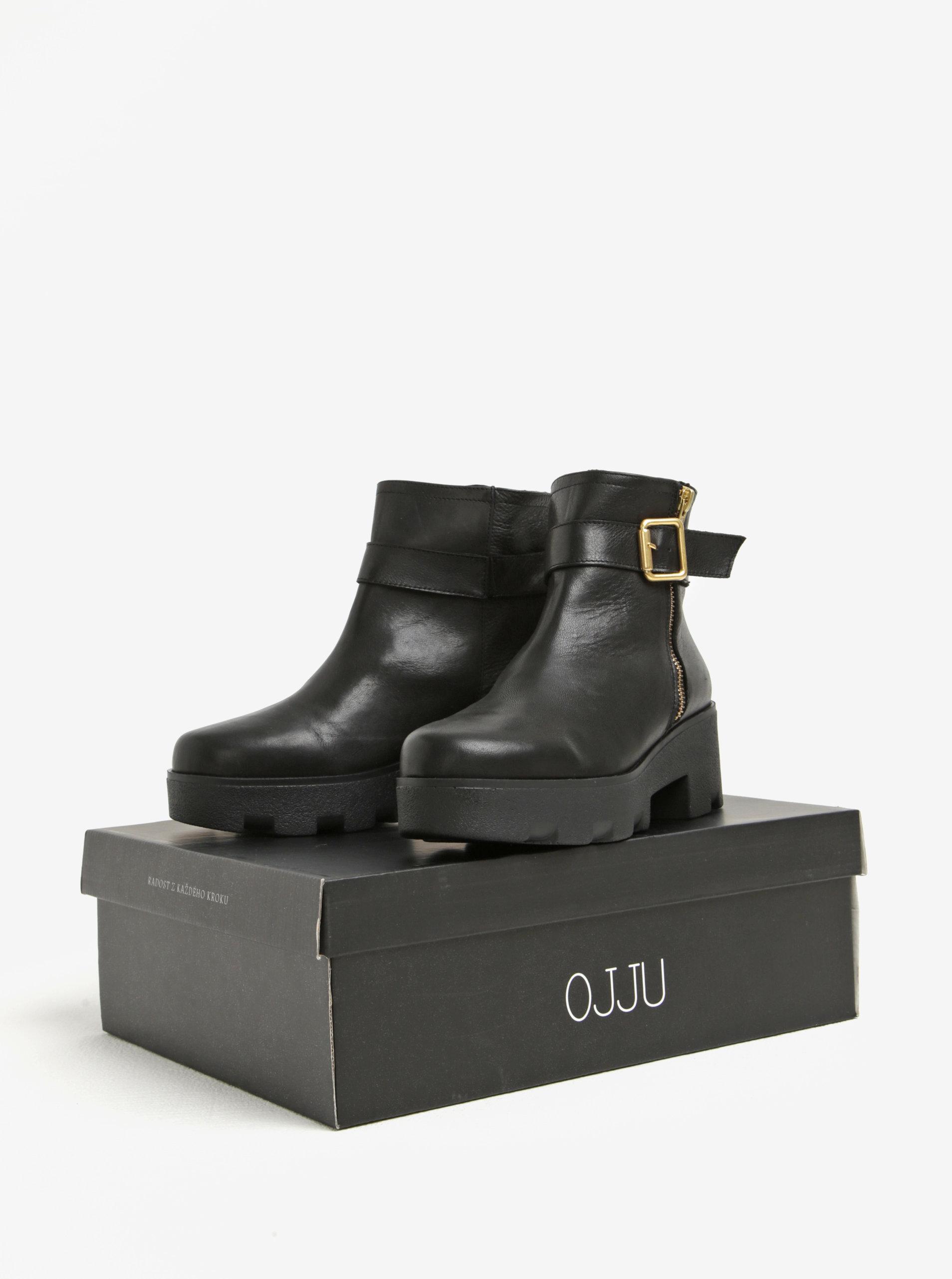 c9b45f0e8931 Čierne kožené členkové topánky na platforme OJJU ...