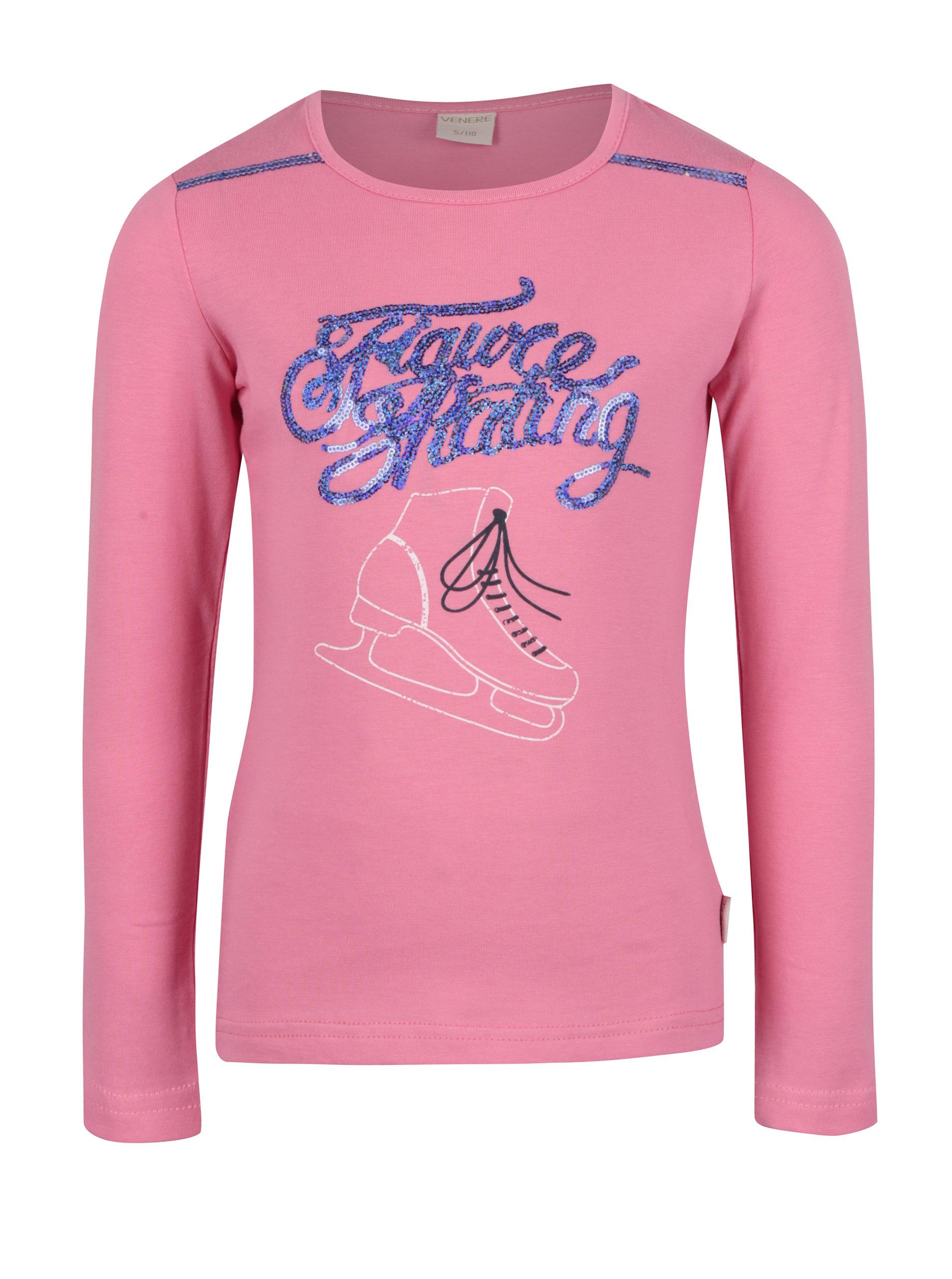 efe59736522b Ružové dievčenské tričko s dlhým rukávom a flitrami Venere ...
