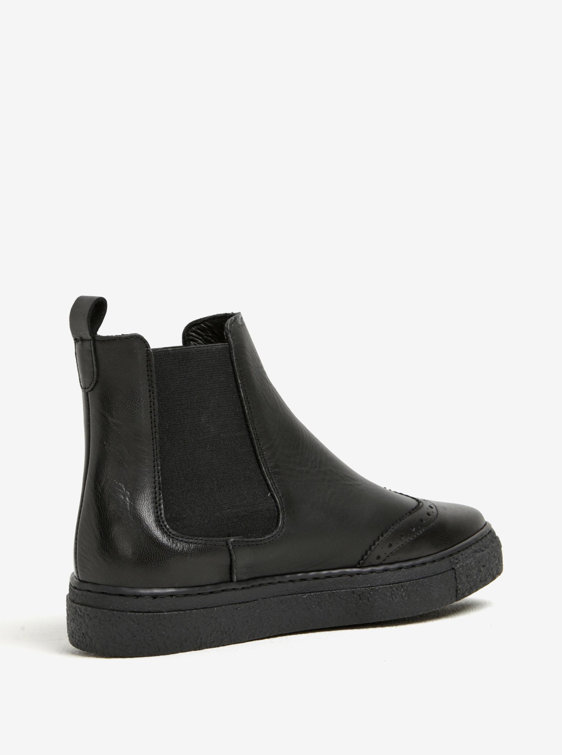 02a8509d2fda Čierne kožené chelsea topánky na platforme OJJU ...