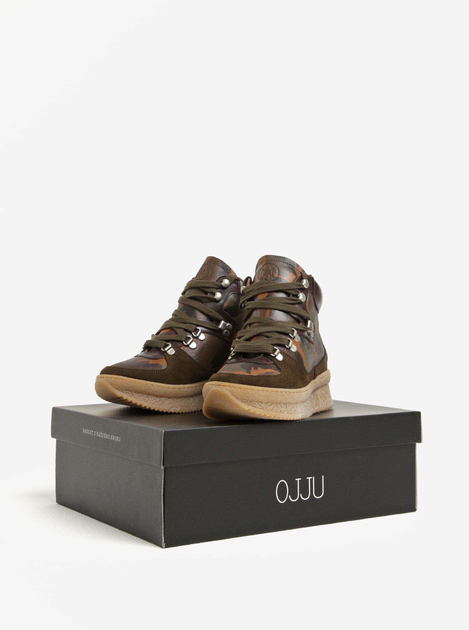 9d68a56a700ae Khaki kožené kotníkové maskáčové boty na platformě OJJU | ZOOT.cz