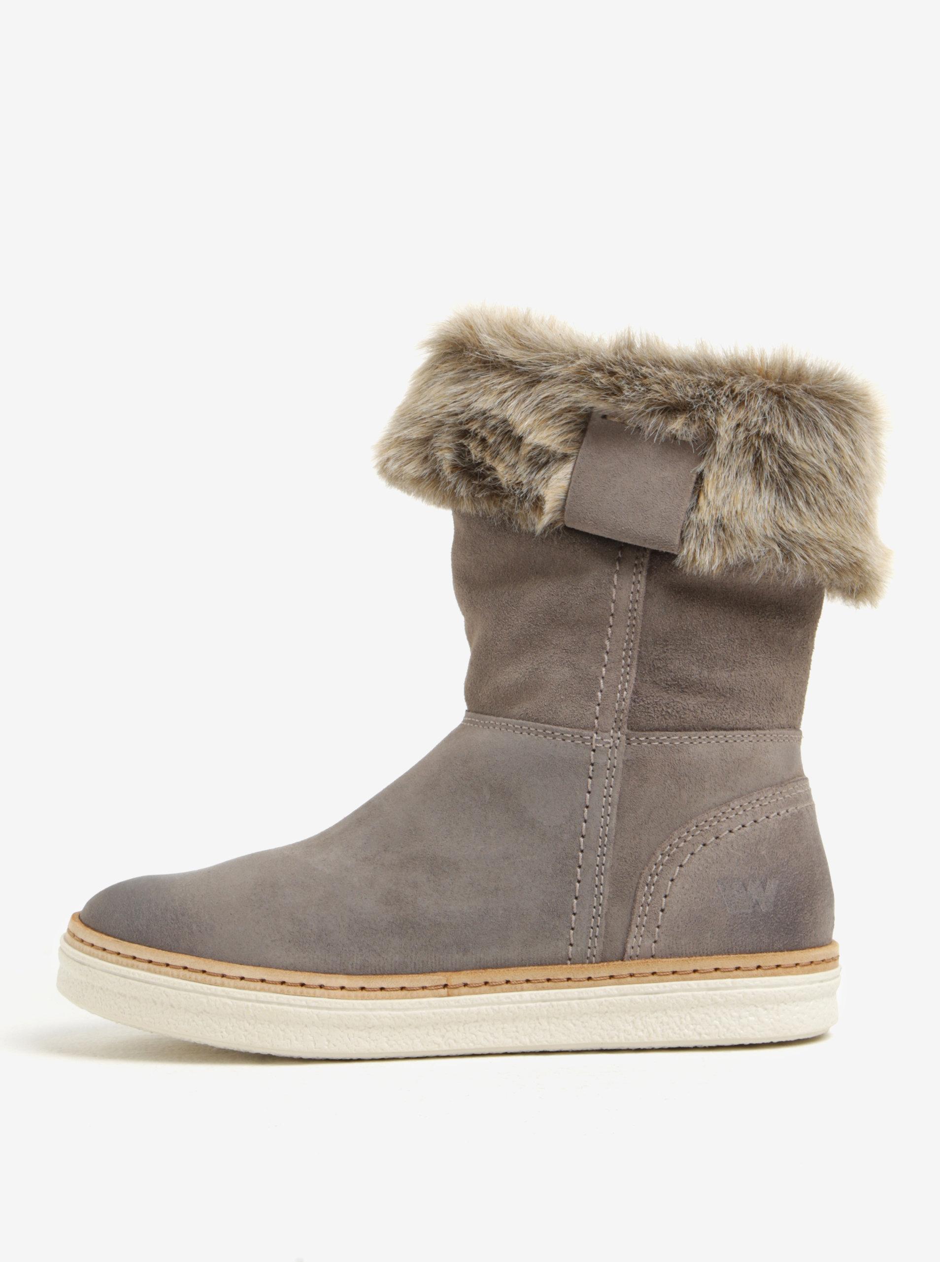 d3d3ee4a4f Tmavosivé dámske semišové zimné topánky Weinbrenner ...