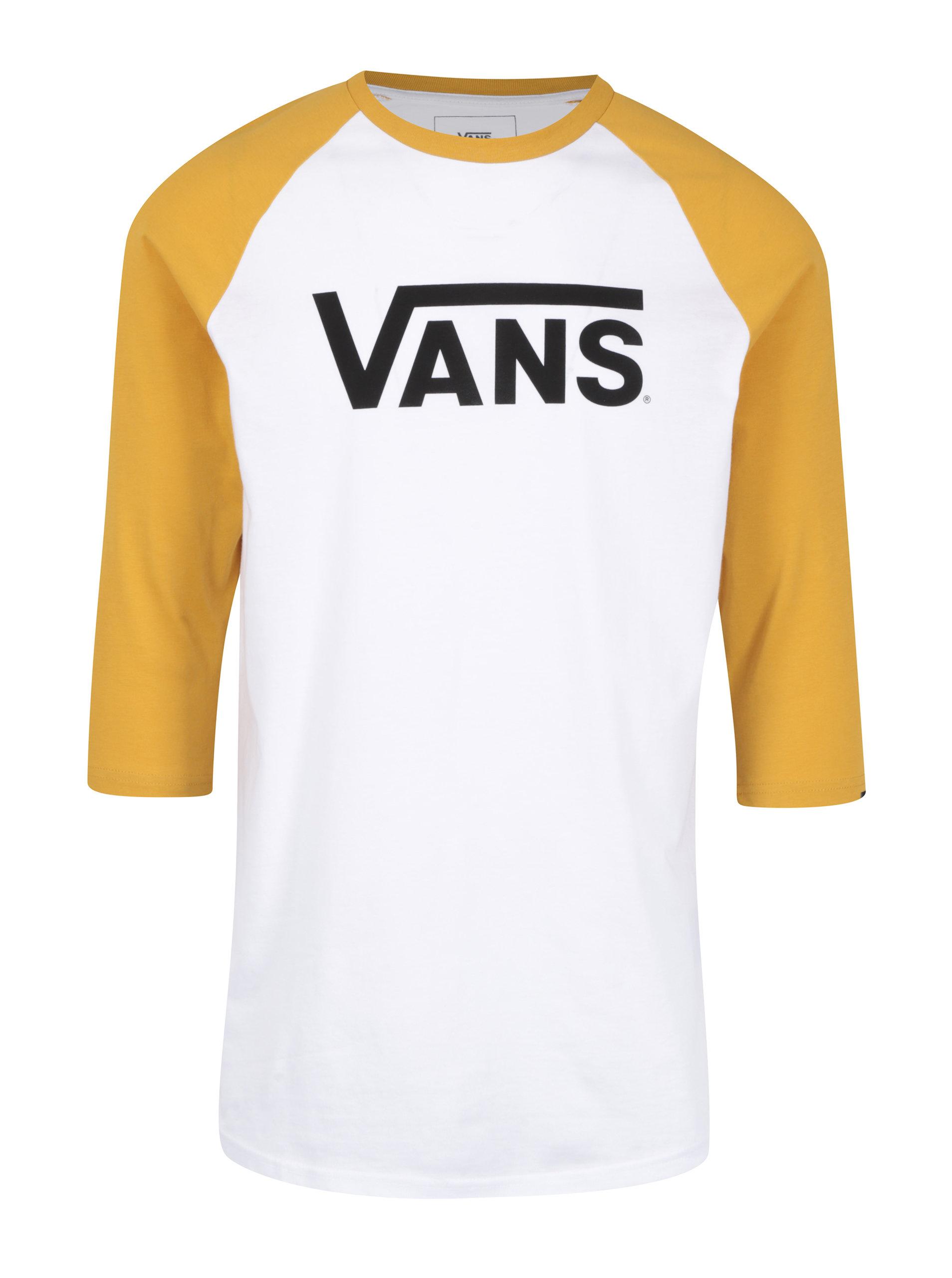 Žlto–biele pánske tričko s 3 4 rukávom VANS Classic ... c08742a0777