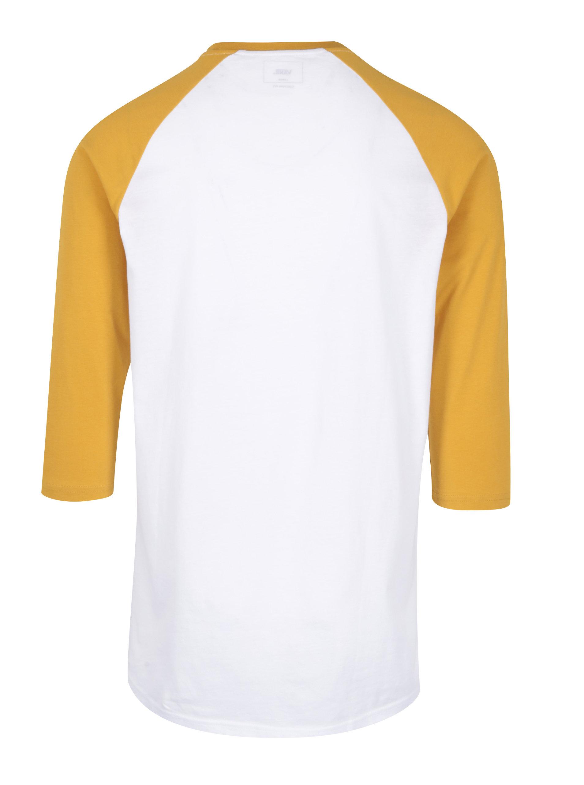 a07087ef71c Žluto-bílé pánské tričko s 3 4 rukávem VANS Classic ...