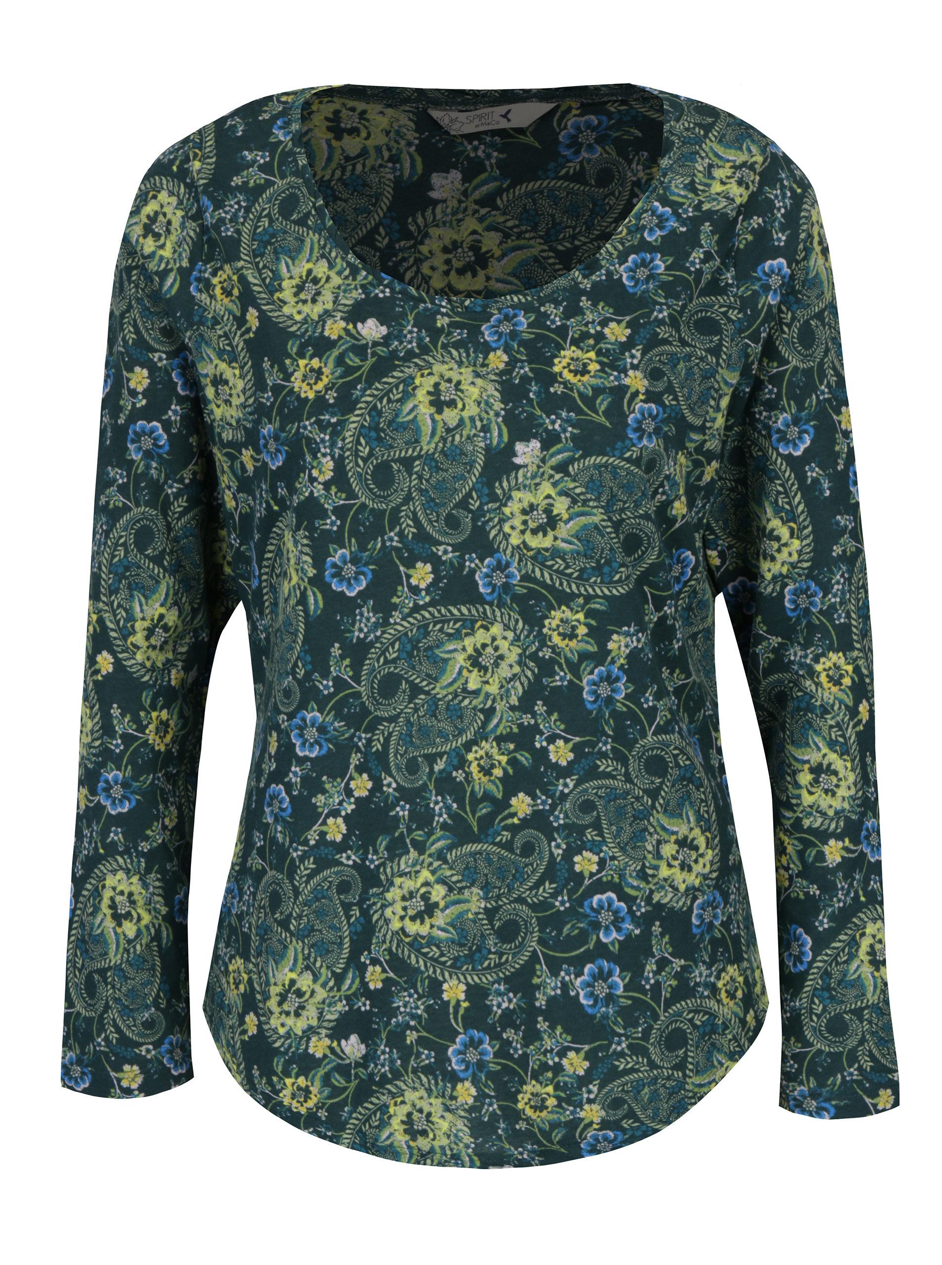 7c85a0356865 Tmavě zelené dámské květované tričko s dlouhým rukávem M Co ...