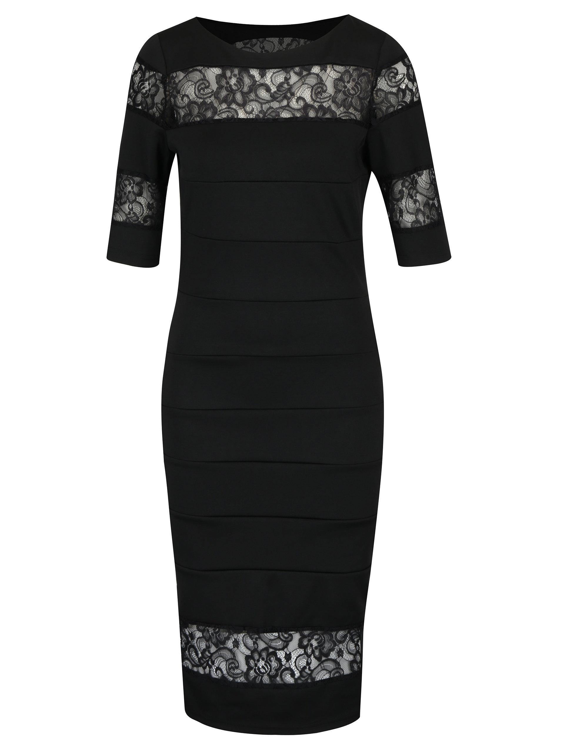Čierne puzdrové šaty s čipkou Paper Dolls ... 981222185a1