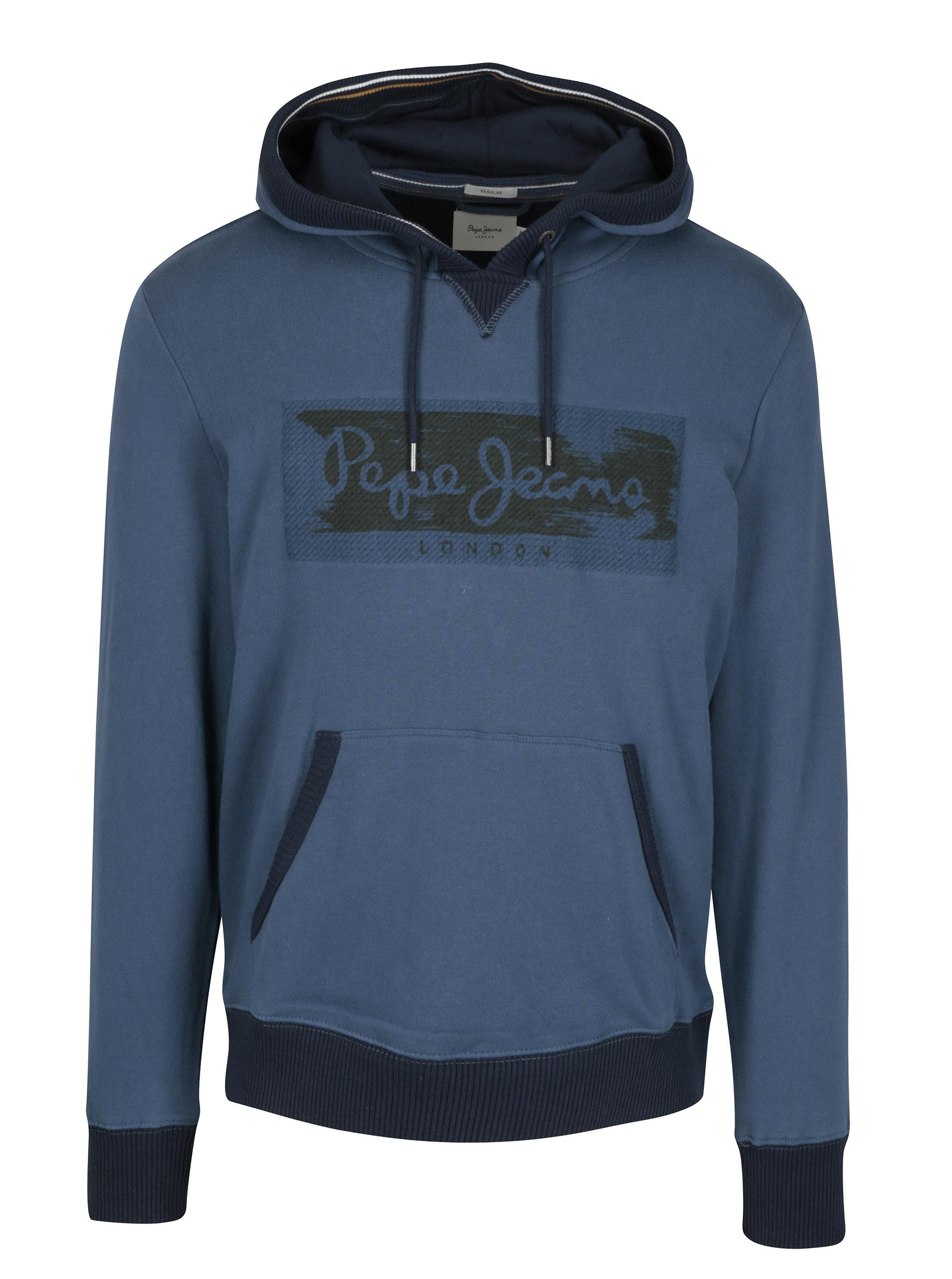 Modrá pánská mikina s výšivkou a kapucí Pepe Jeans WOODWARD ... 493c45d32c