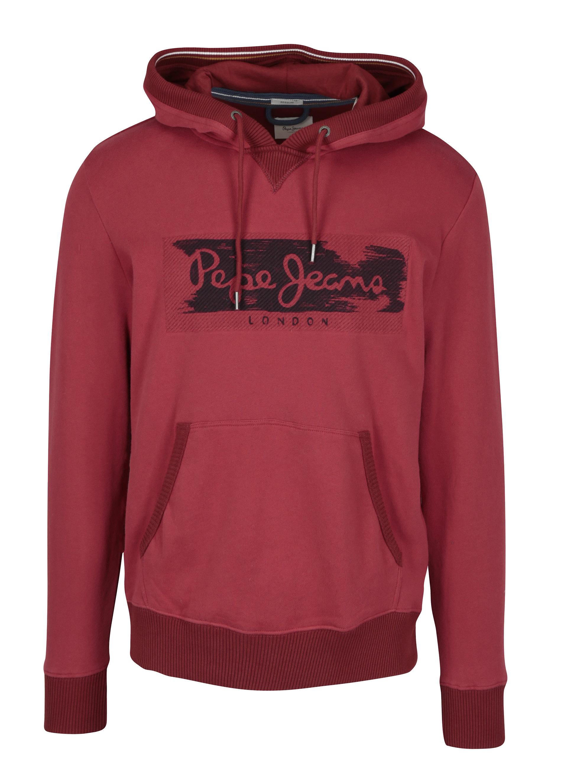 Červená pánská mikina s výšivkou a kapucí Pepe Jeans WOODWARD ... da42193c2a