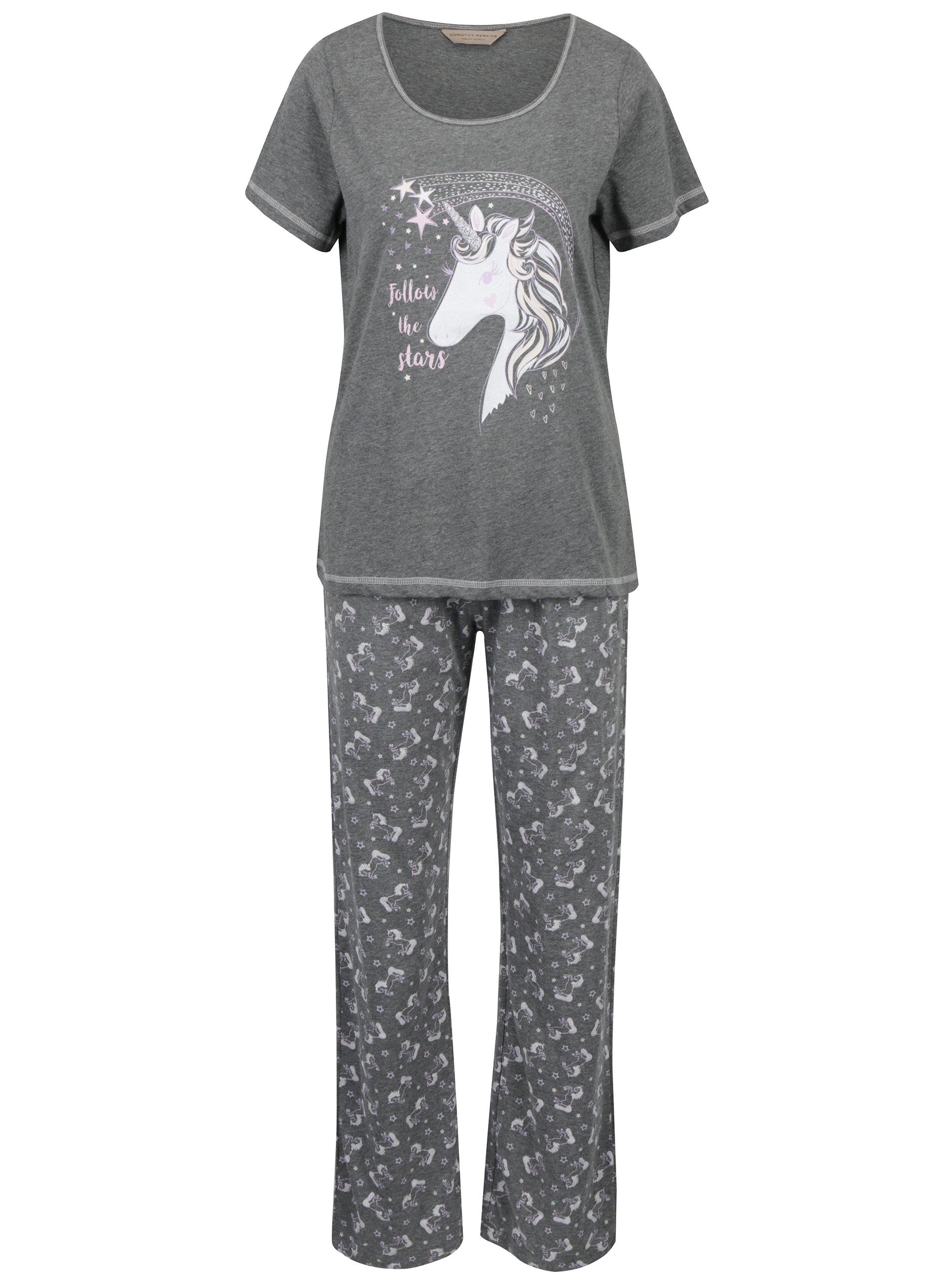 8cb569ac1 Sivé pyžamo s potlačou jednorožca Dorothy Perkins   ZOOT.sk