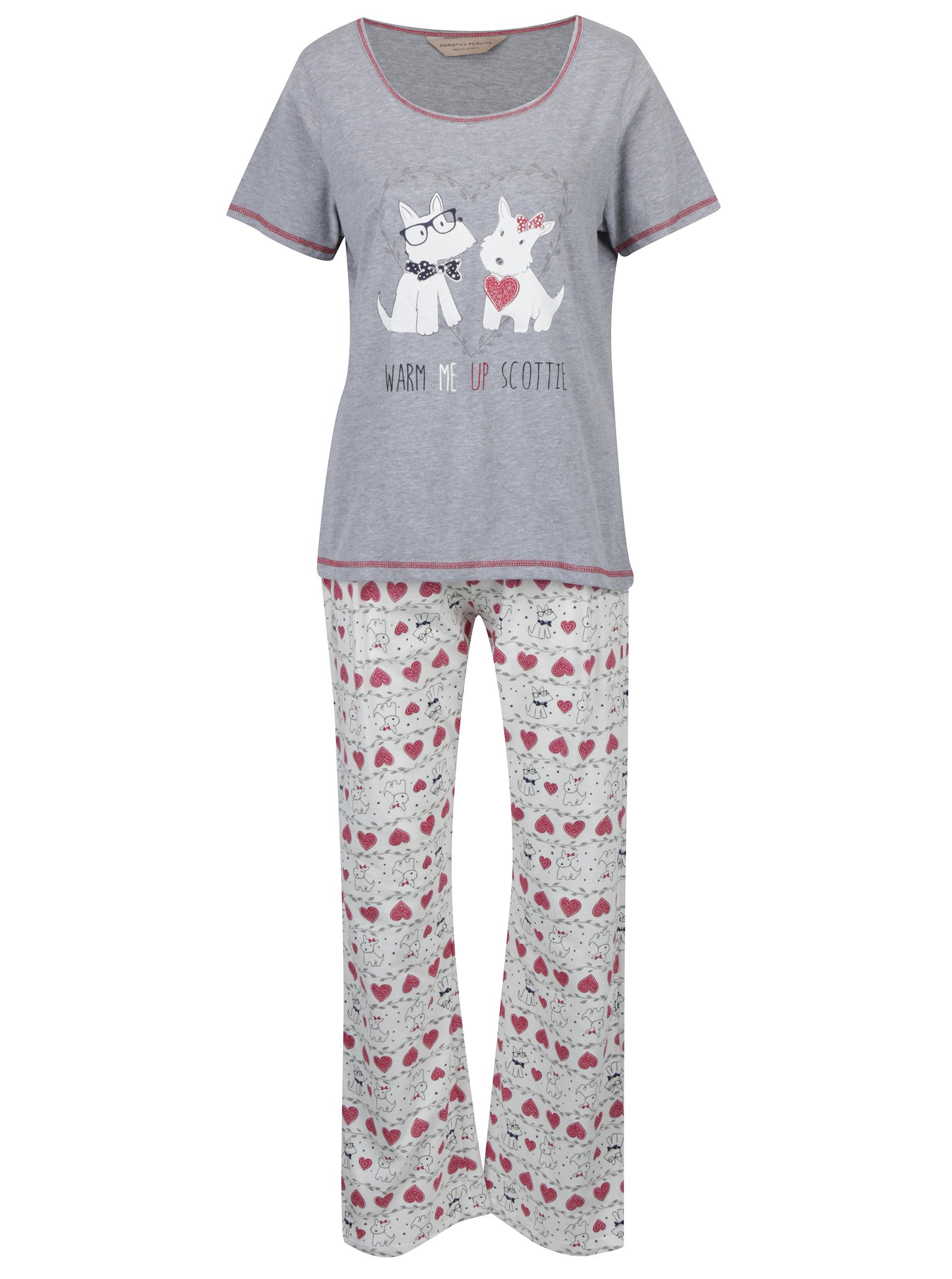 3984b8d07 Krémovo-sivé pyžamo s potlačou psov Dorothy Perkins   ZOOT.sk