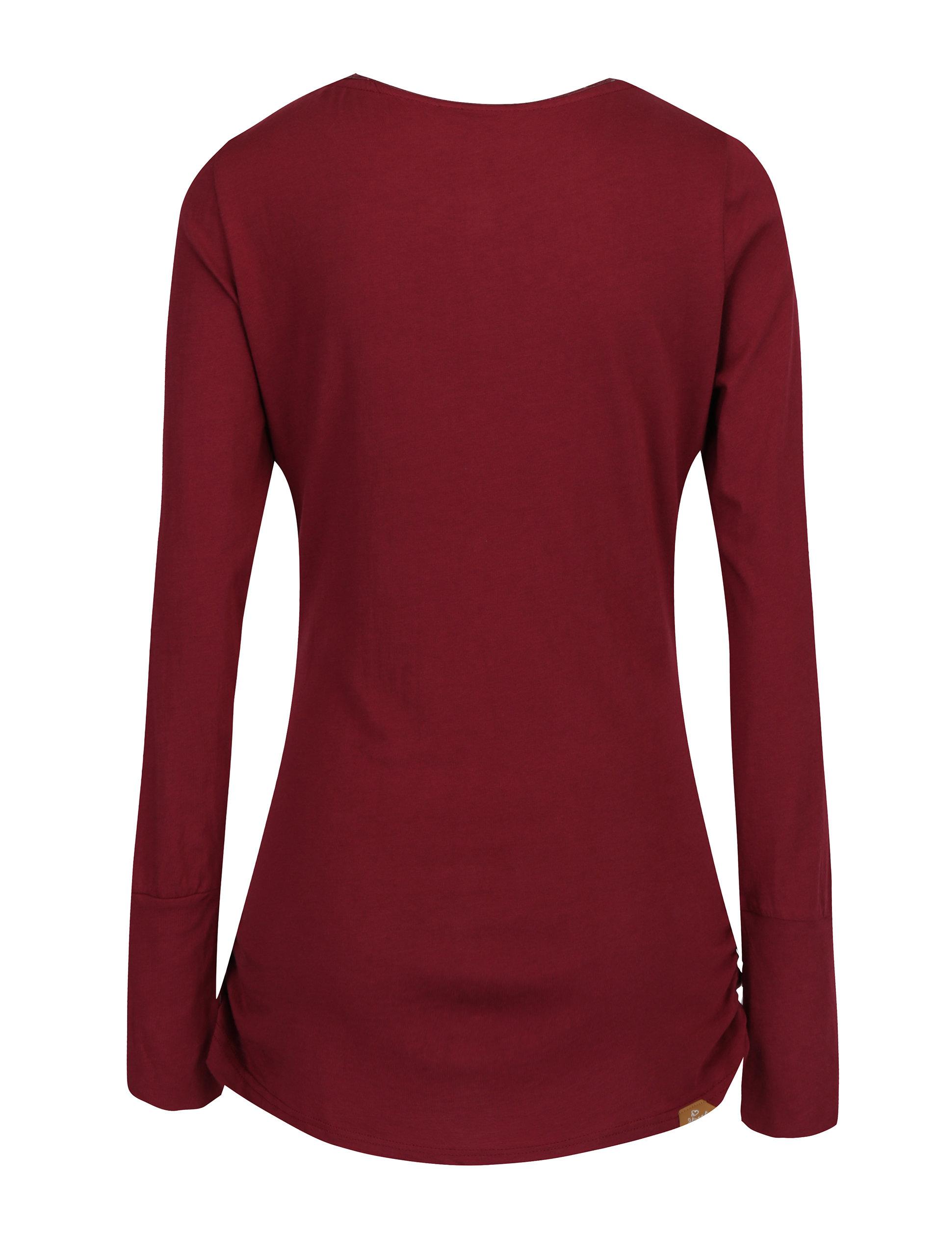 127dee0e6aa Vínové dámské dlouhé tričko s všitým dílem Ragwear Zimt ...