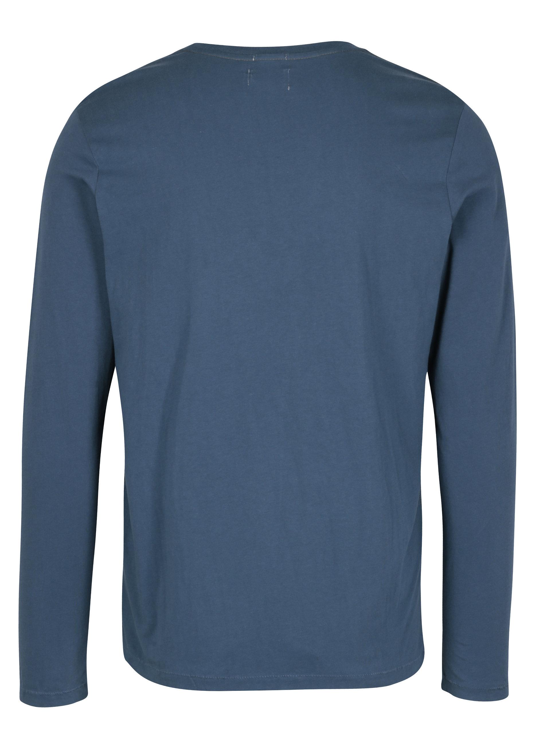 4fb278e4dbe Modré pánské slim tričko s dlouhým rukávem Pepe Jeans AVENUE ...