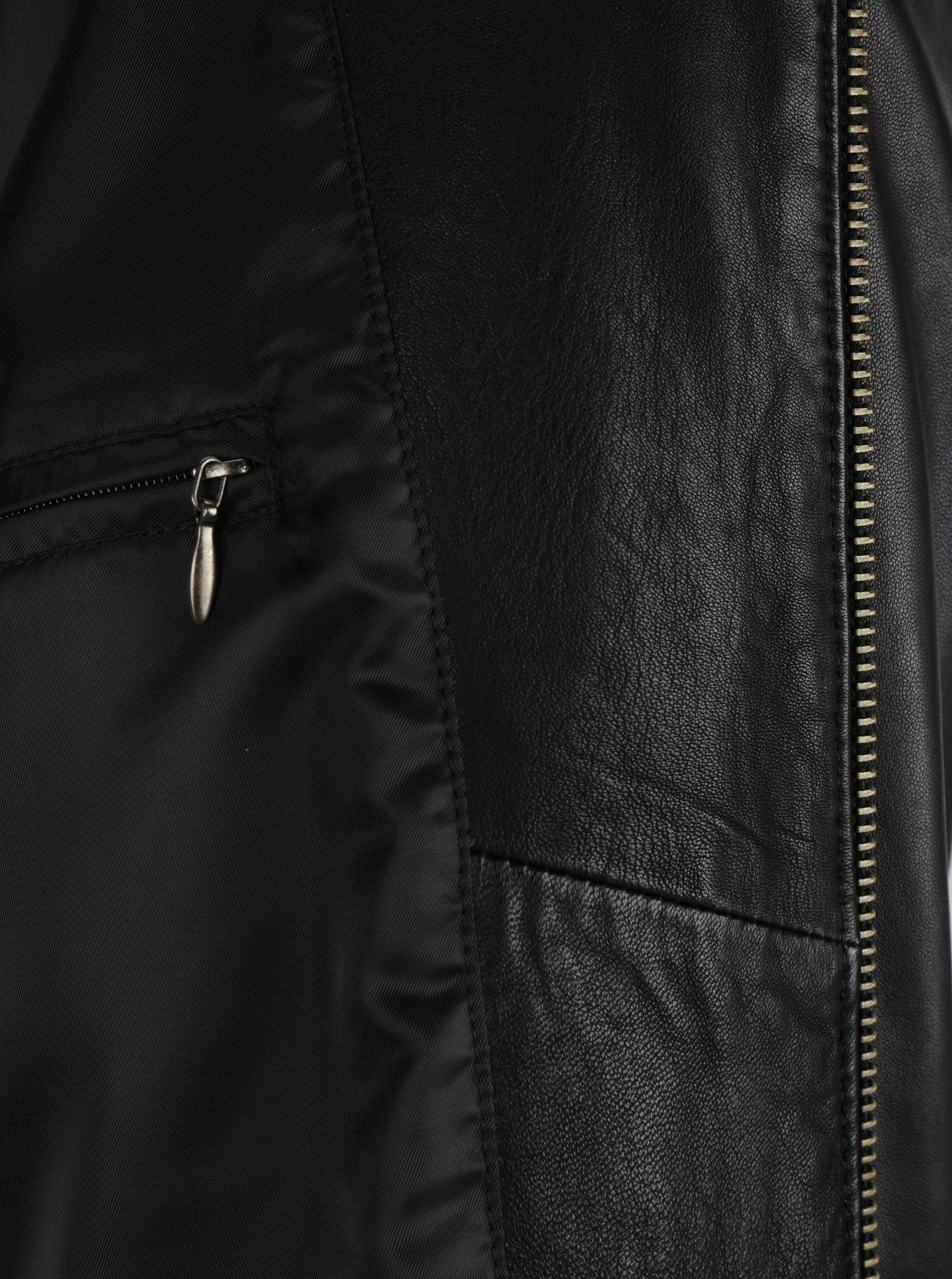 Čierna pánska kožená bunda s vreckami KARA ... f18a9593e0a