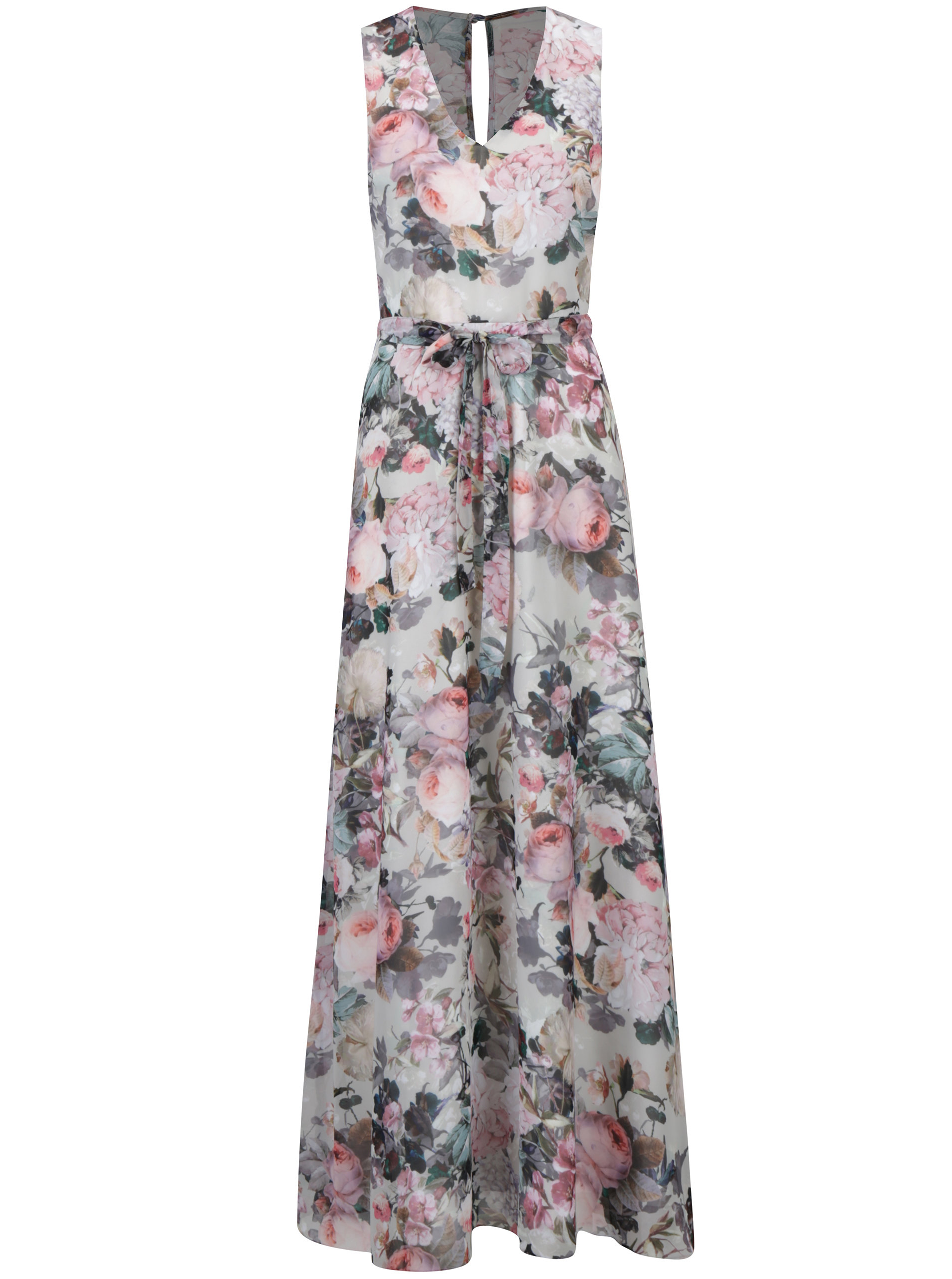 27baa63f9615 Krémové kvetované maxi šaty bez rukávov Dorothy Perkins ...