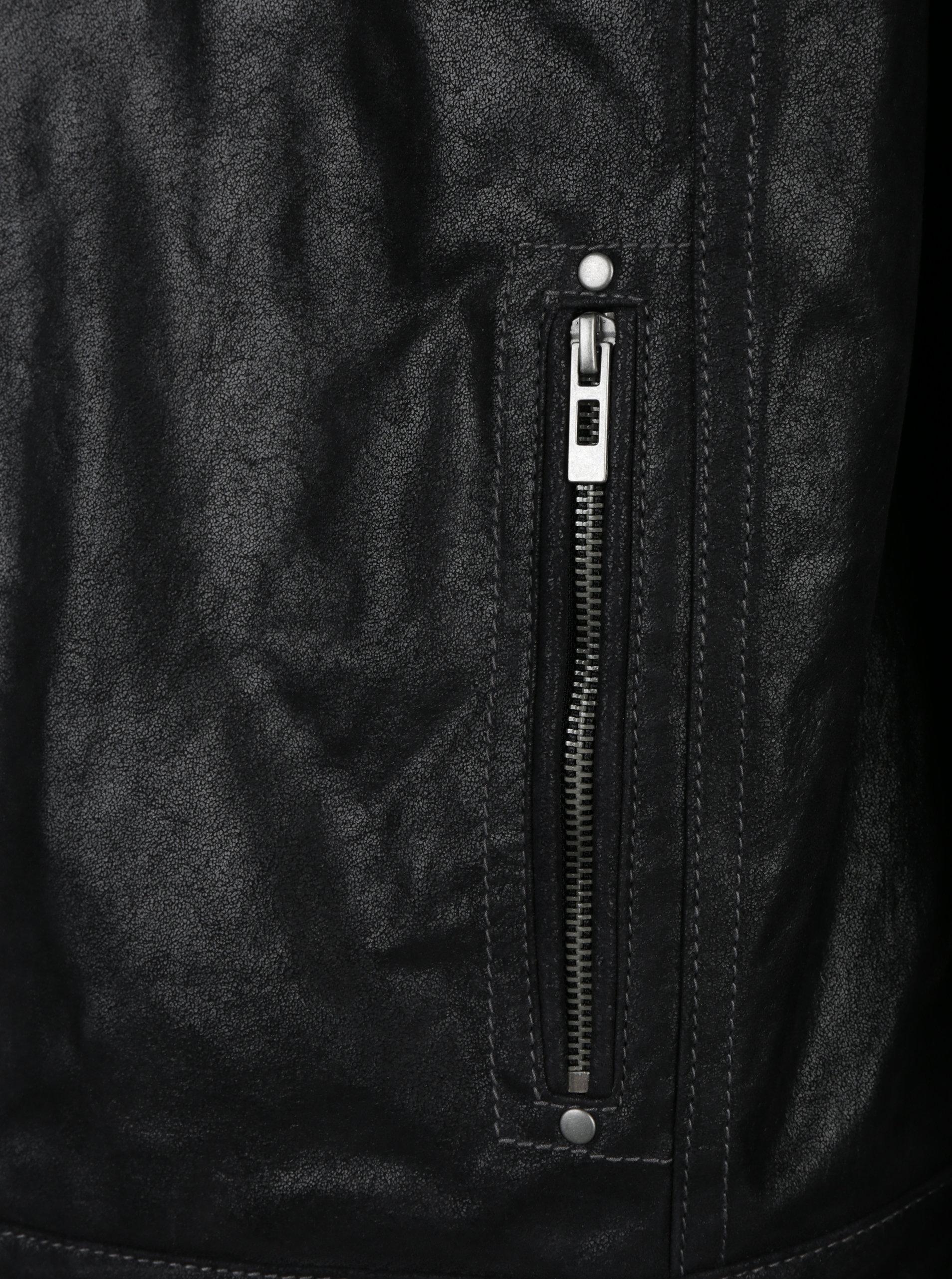 Černá pánská kožená bunda s kapucí KARA Dorian - SLEVA!  be88cc51491