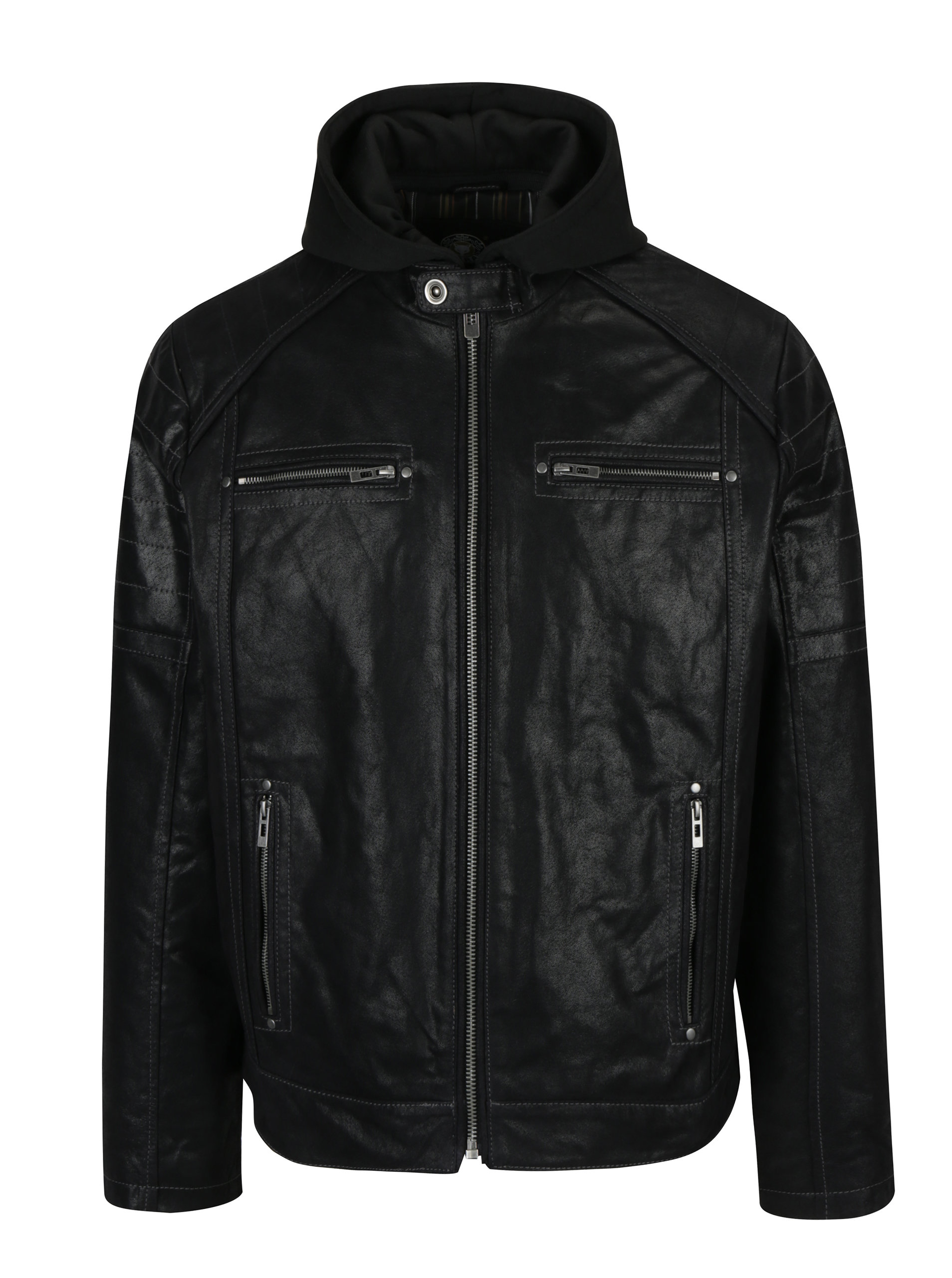 be2f5c6f4a Černá pánská kožená bunda s kapucí KARA Dorian ...