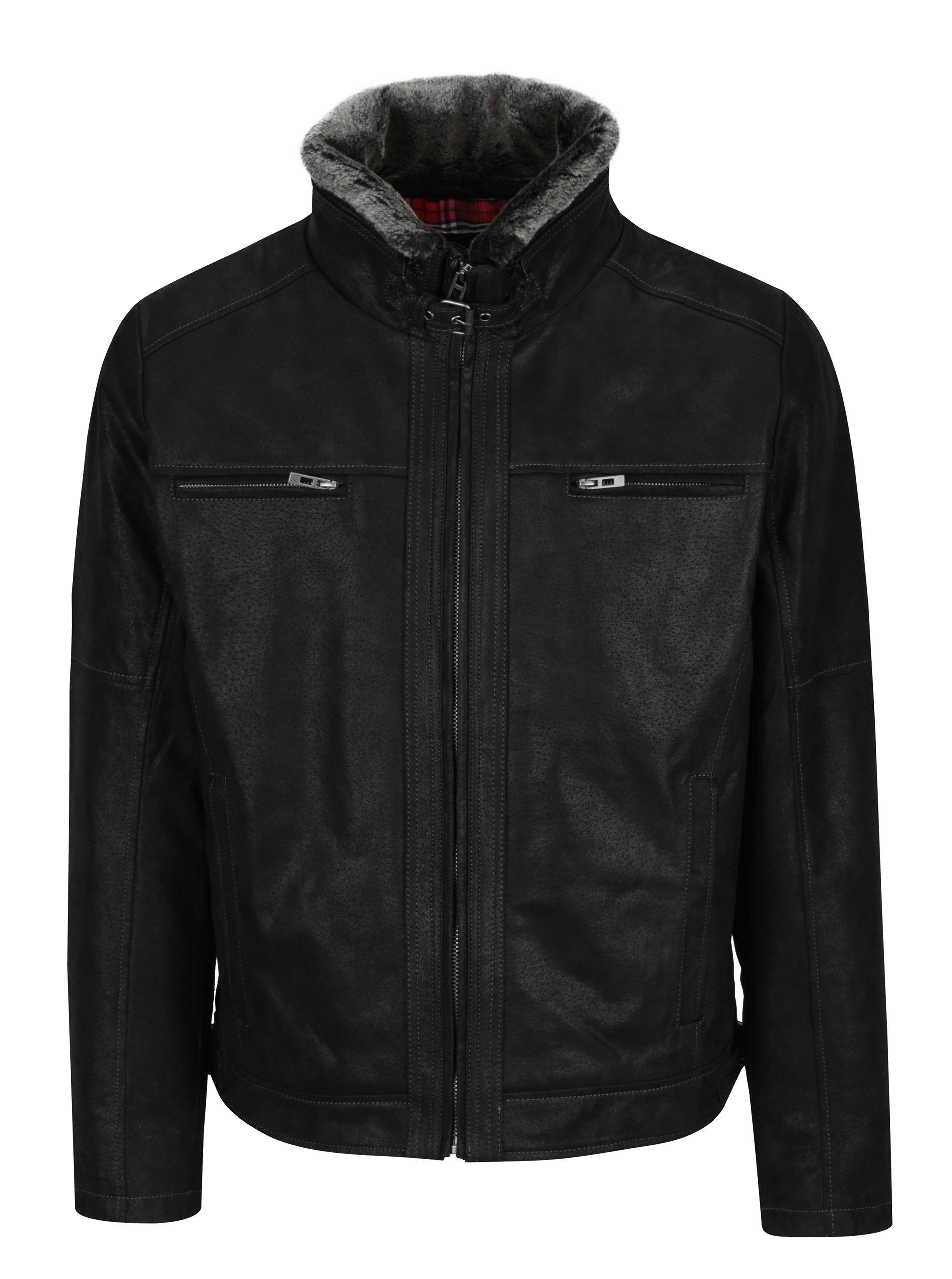 Černá pánská kožená bunda s umělou kožešinou KARA Albert ... f2f2639a832