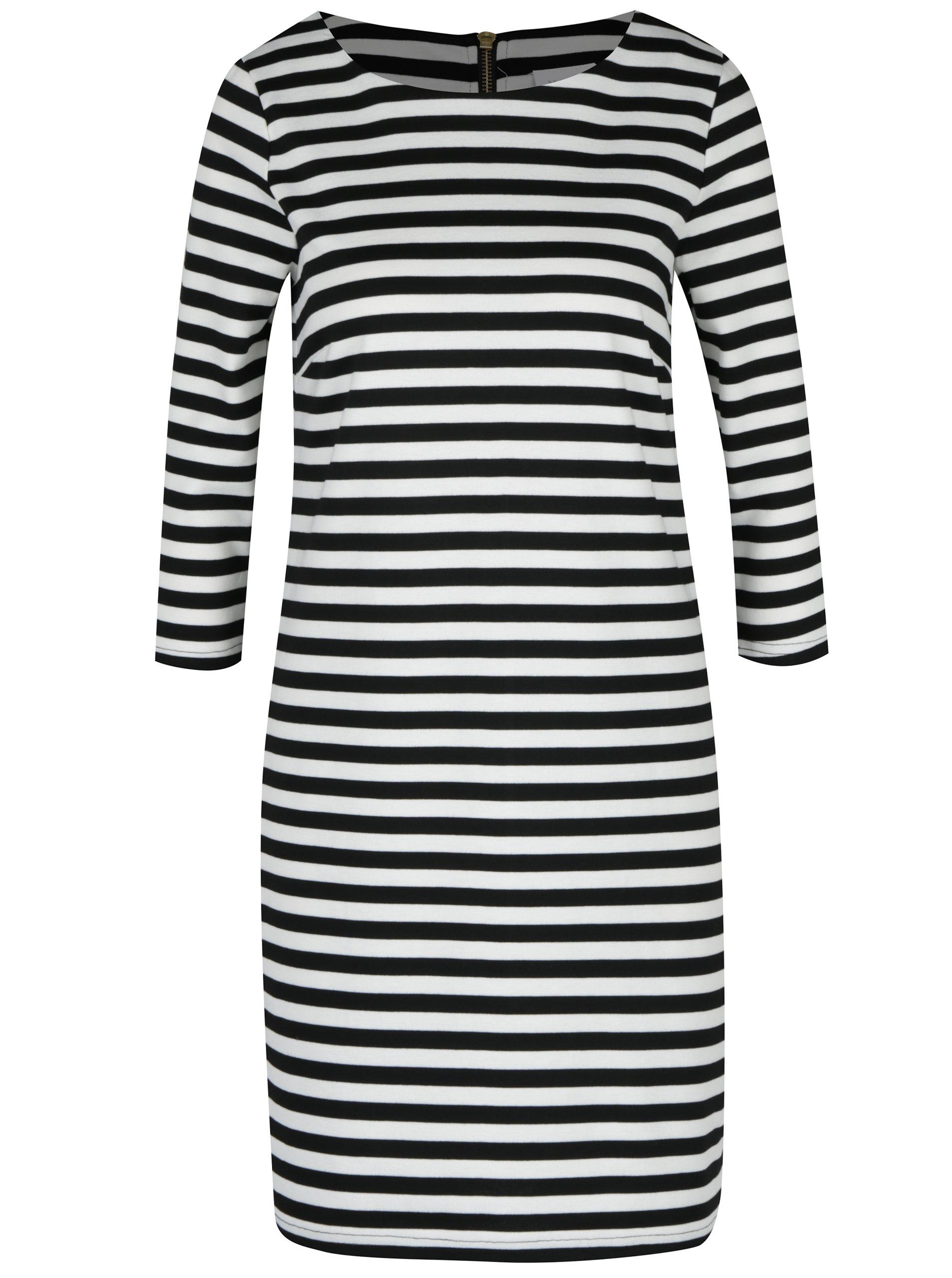 5b4820169347 Černo-krémové pruhované šaty s 3 4 rukávem VILA Tinny ...