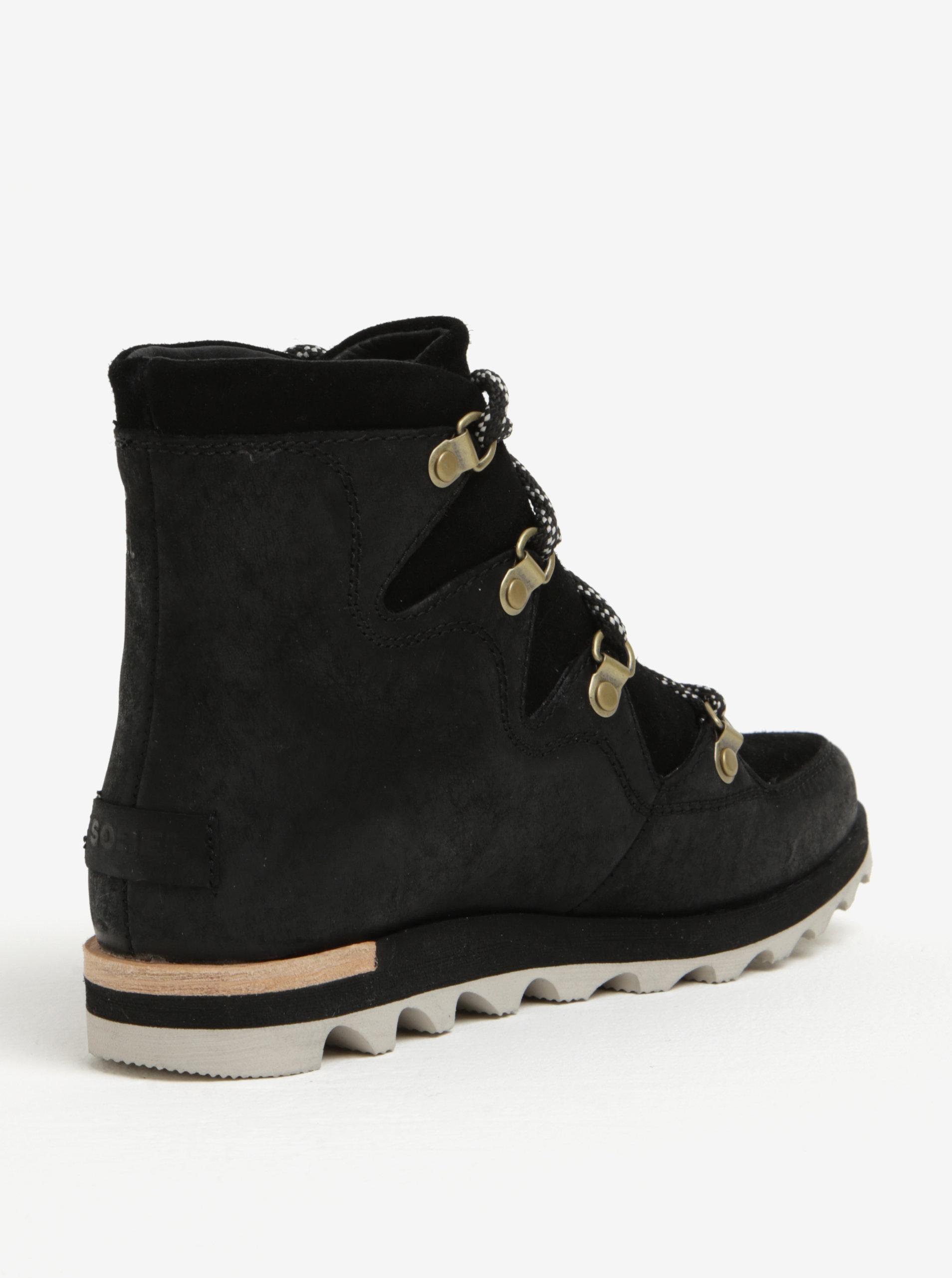 b0a13faa8da Černé dámské kotníkové kožené voděodolné zimní boty SOREL - SLEVA ...