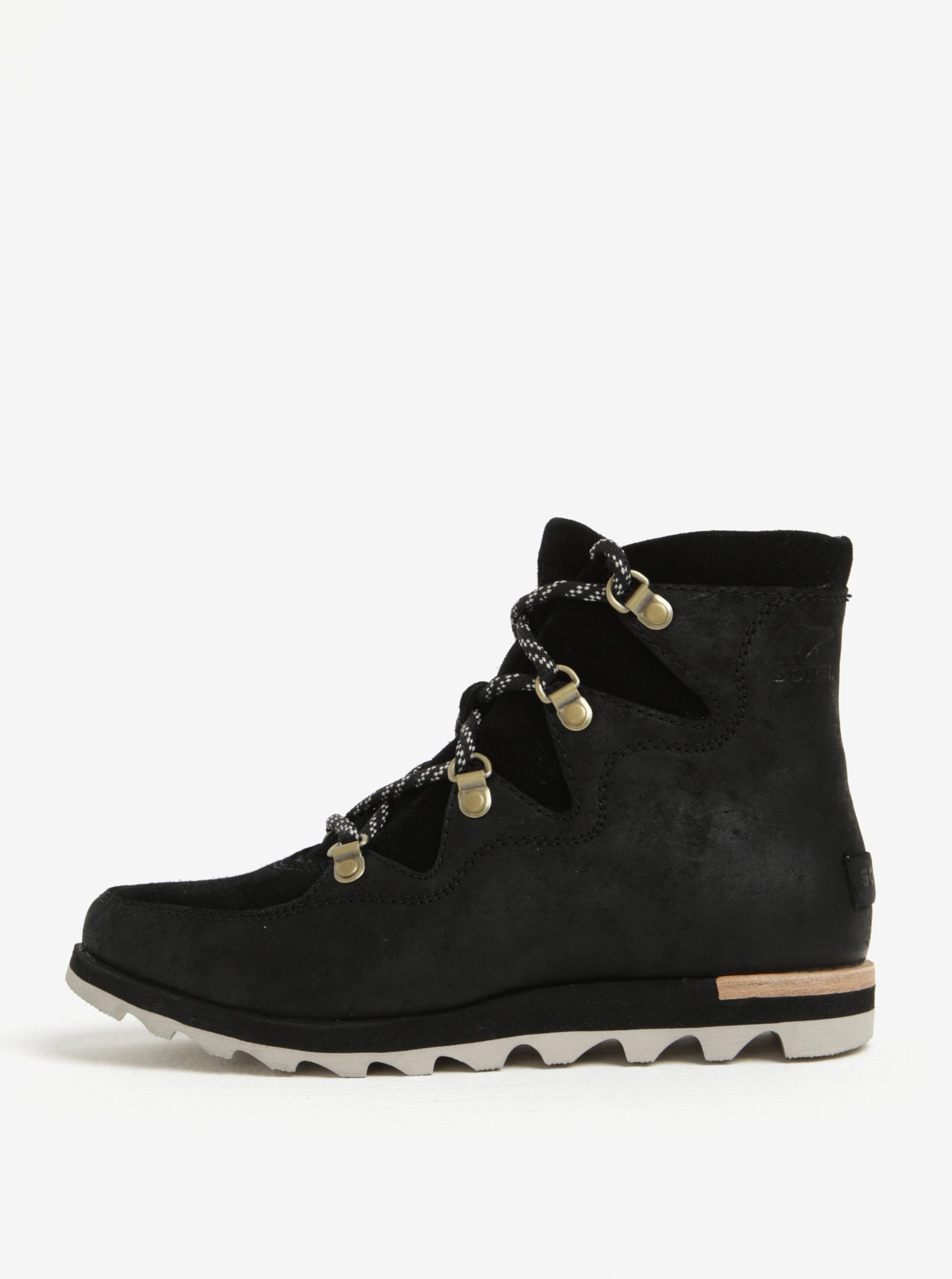 085eb685a7 Čierne dámske členkové kožené vodovzdorné zimné topánky SOREL ...