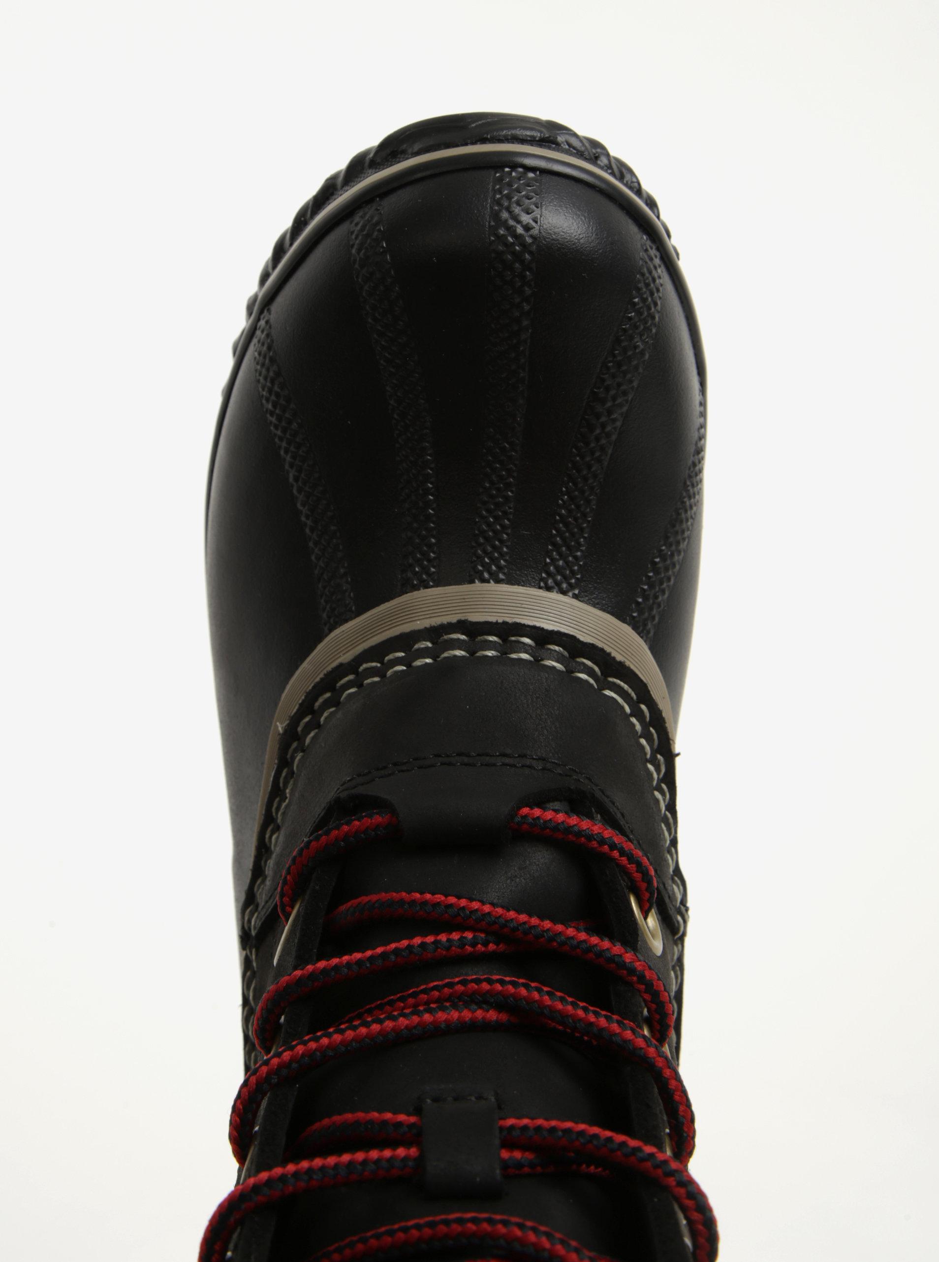 Černé dámské kožené kotníkové voděodolné zimní boty na nízkém podpatku SOREL  ... 1c14a676ba