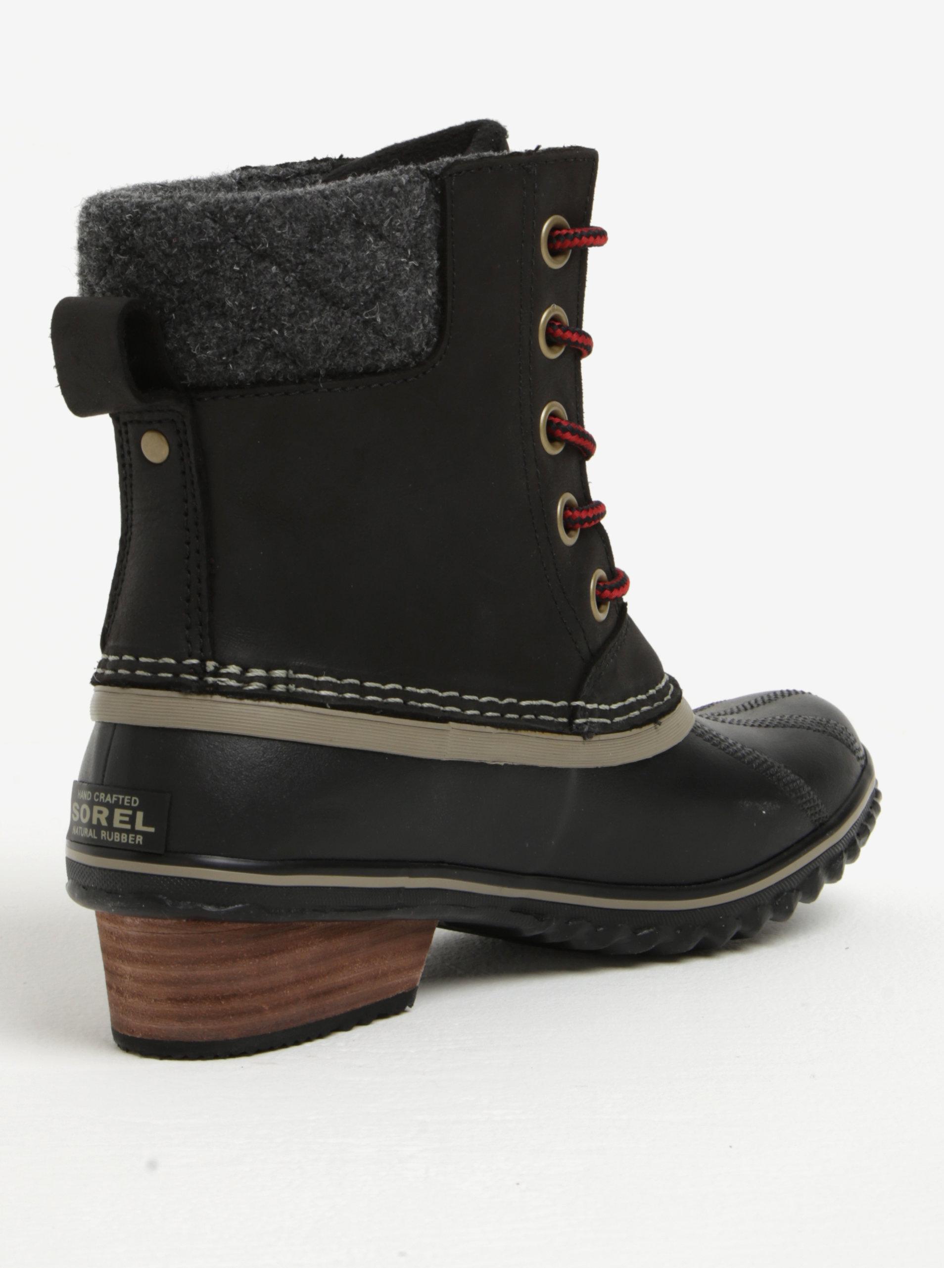 d78b32e44758b Čierne dámske členkové kožené vodovzdorné zimné topánky na nízkom podpätku  SOREL ...
