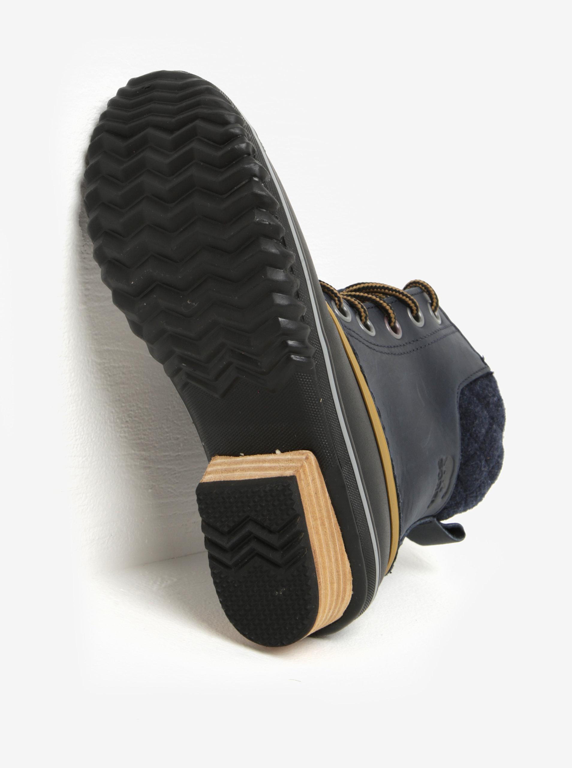 cfd8851ca77 ... Modré dámské kotníkové kožené voděodolné zimní boty na nízkém podpatku  SOREL