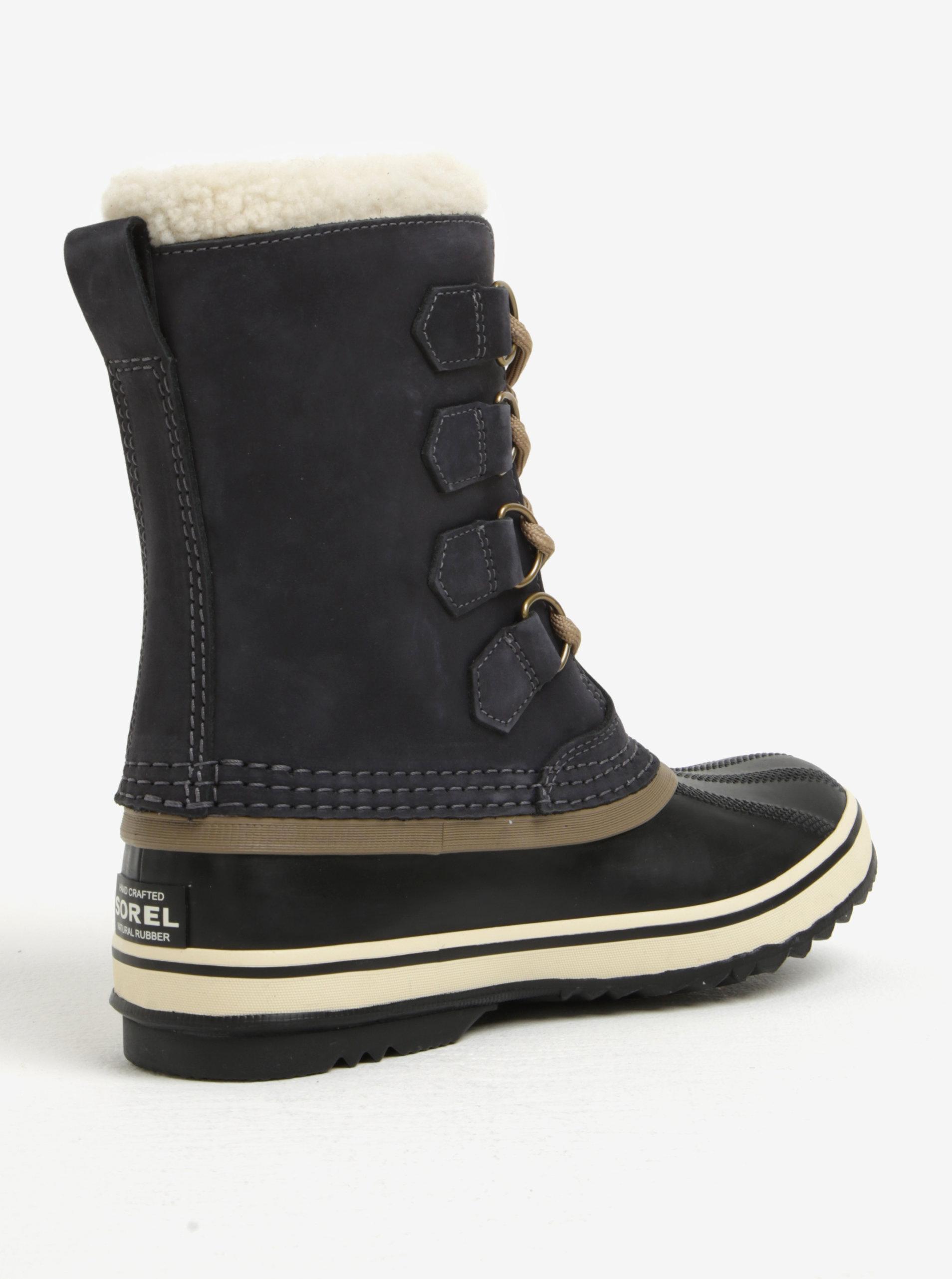 ... Tmavě šedé dámské kožené voděodolné zimní boty s umělým kožíškem SOREL  ... d82414b545