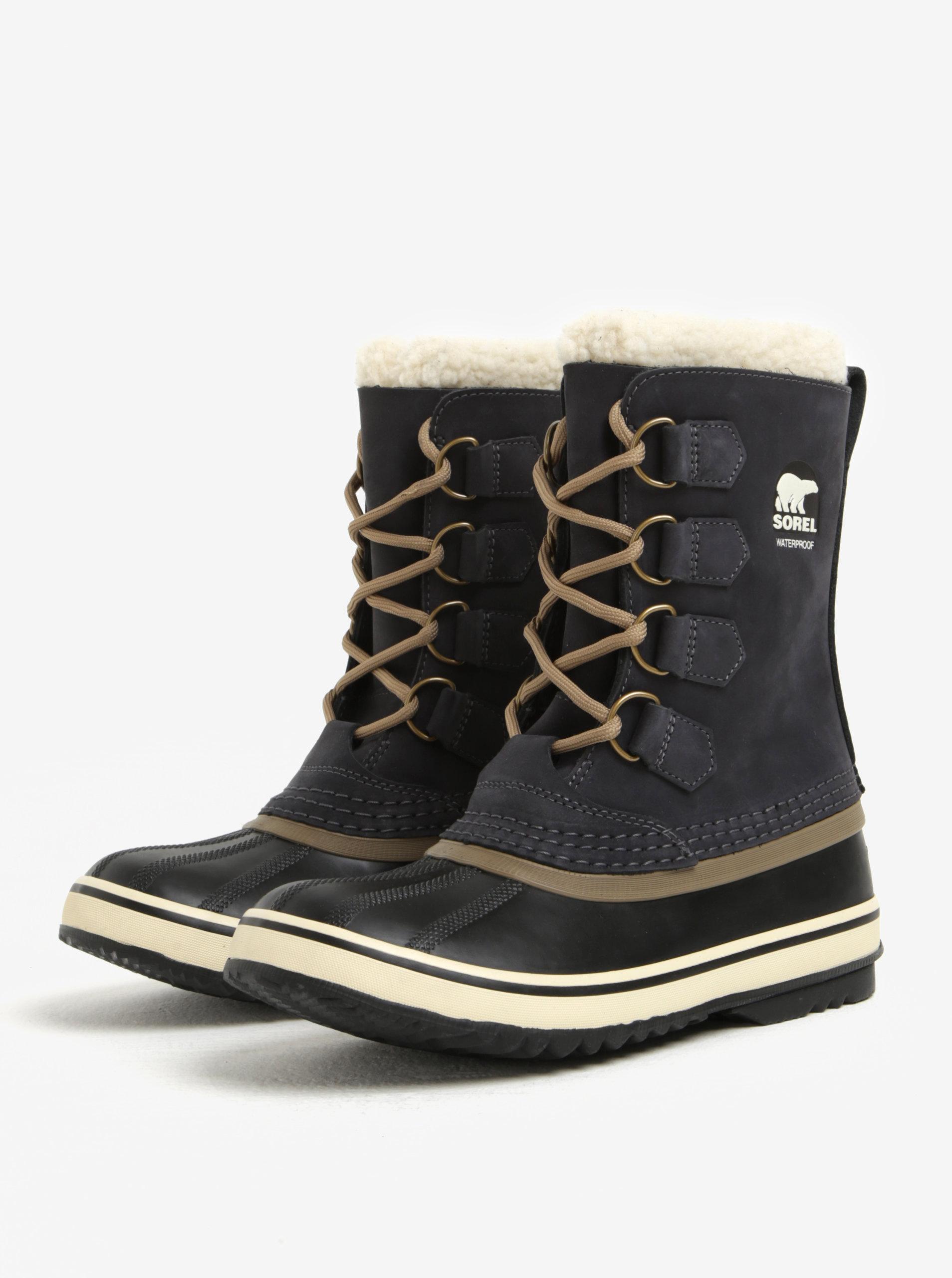 ... Tmavě šedé dámské kožené voděodolné zimní boty s umělým kožíškem SOREL  ... f9dd31d991