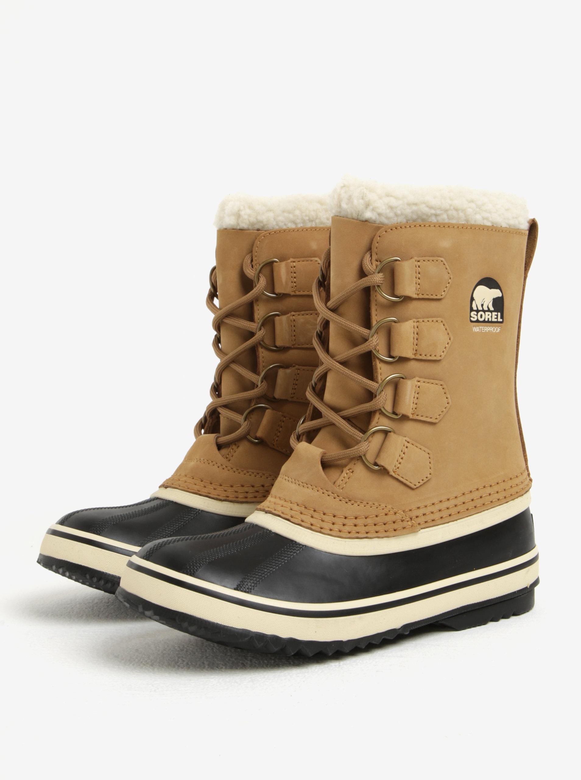 Světle hnědé dámské kožené voděodolné zimní boty s umělým kožíškem SOREL ... 1daa684f9dc