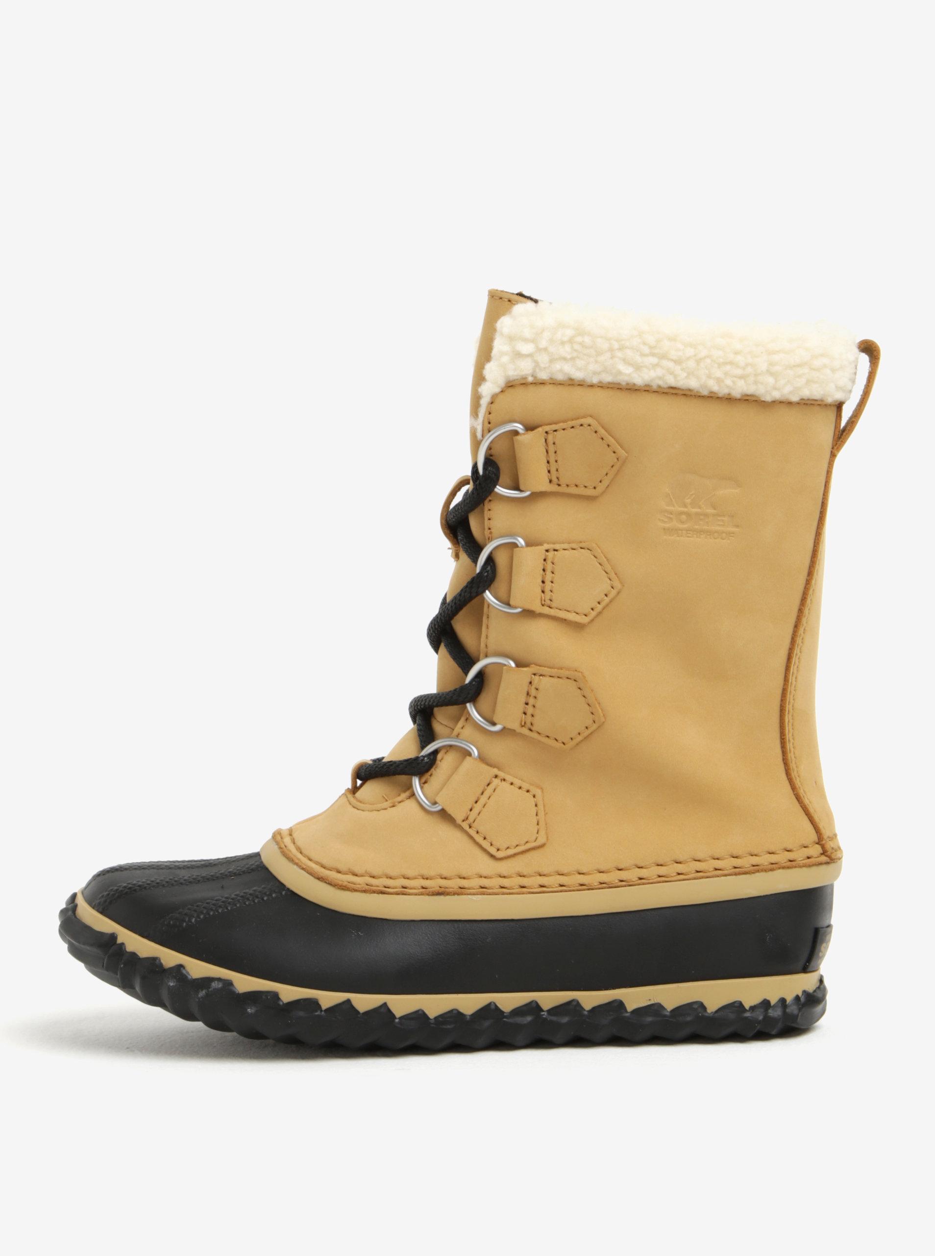 1e48cb9e8d5ed Béžové dámske kožené vodovzdorné zimné topánky s umelým kožúškom SOREL ...